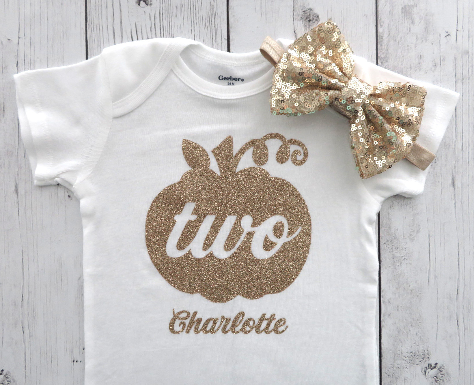Pumpkin Two Birthday Onesie for baby girl - pumpkin two shirt, gold pumpkin, pumpkin birthday girl, gold glitter, second birthday shirt