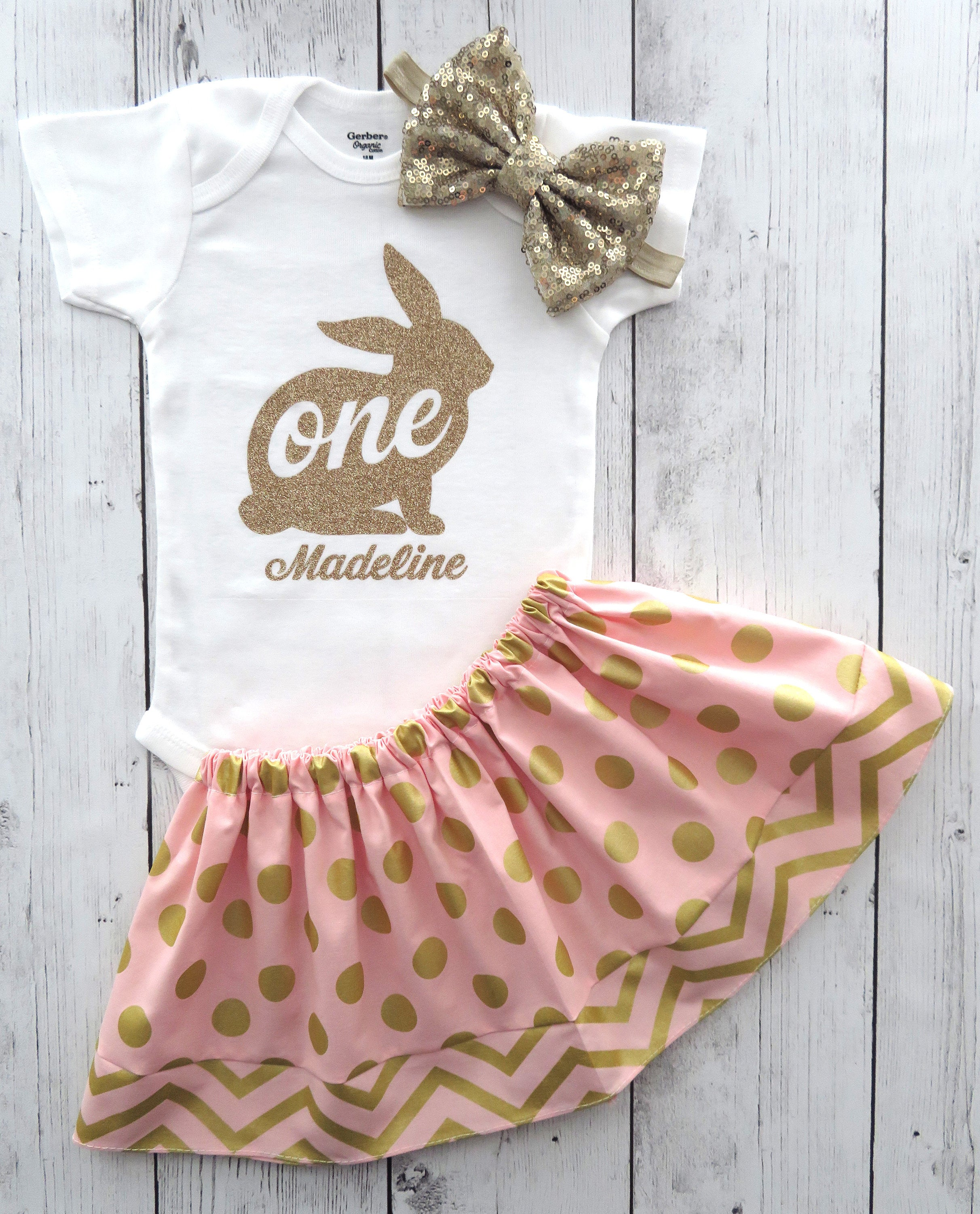 SALE - Bunny One First Birthday Outfit - pink gold birthday outfit, bunny one girl, bunny birthday girl, some bunny is one, bunny pink gold