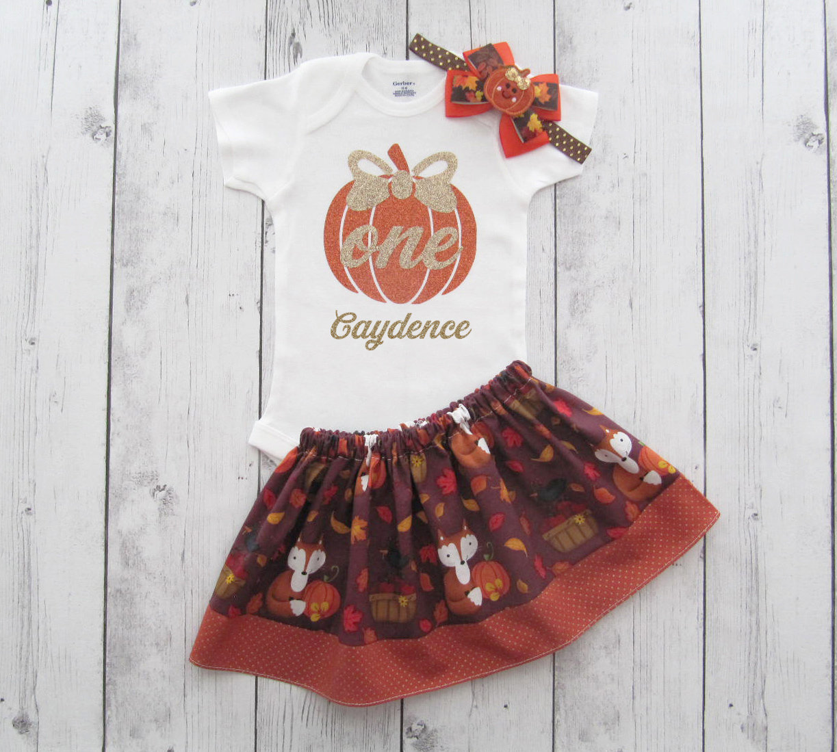 Autumn First Birthday Outfit - pumpkin first birthday outfit girl, gold glitter pumpkin shirt, fall first birthday, fall pumpkin girl