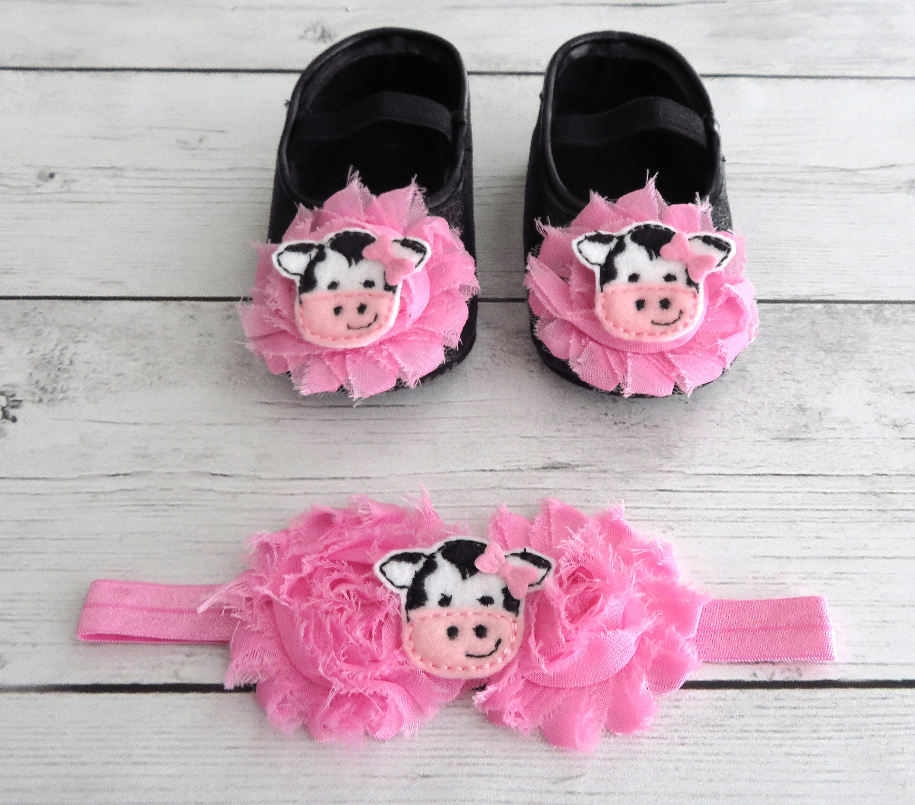 Cow First Birthday Shoes & Headband for Girl in medium pink -  barnyard first birthday, farm animal girl, pink first birthday shoes girl