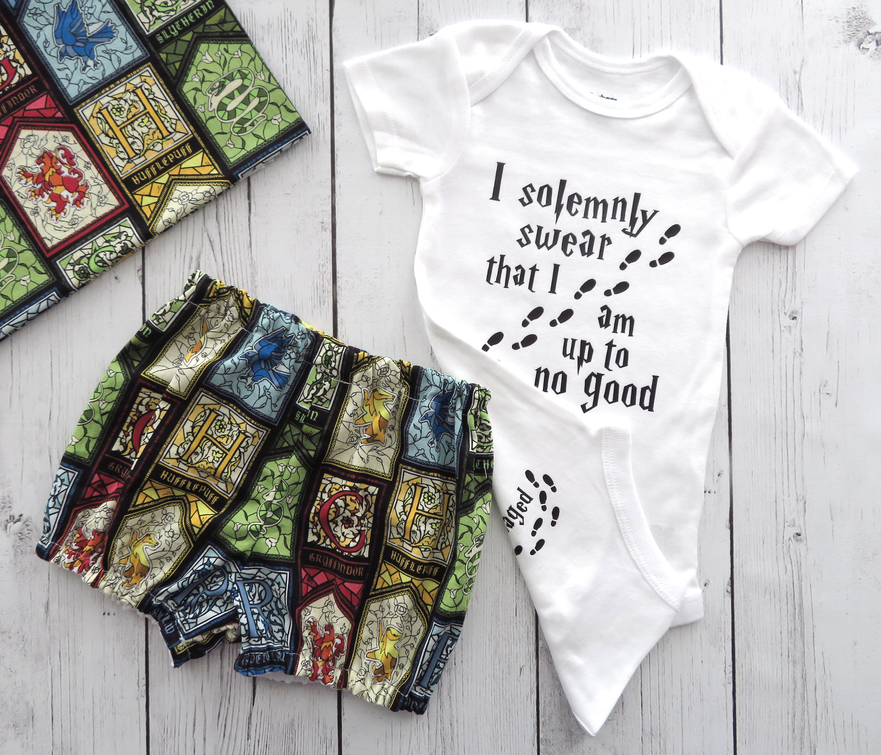 Harry Potter Baby Shower Gift - solemnly swear that I am up to no good, snuggle this muggle, mischief managed, potter diaper cover, bummies