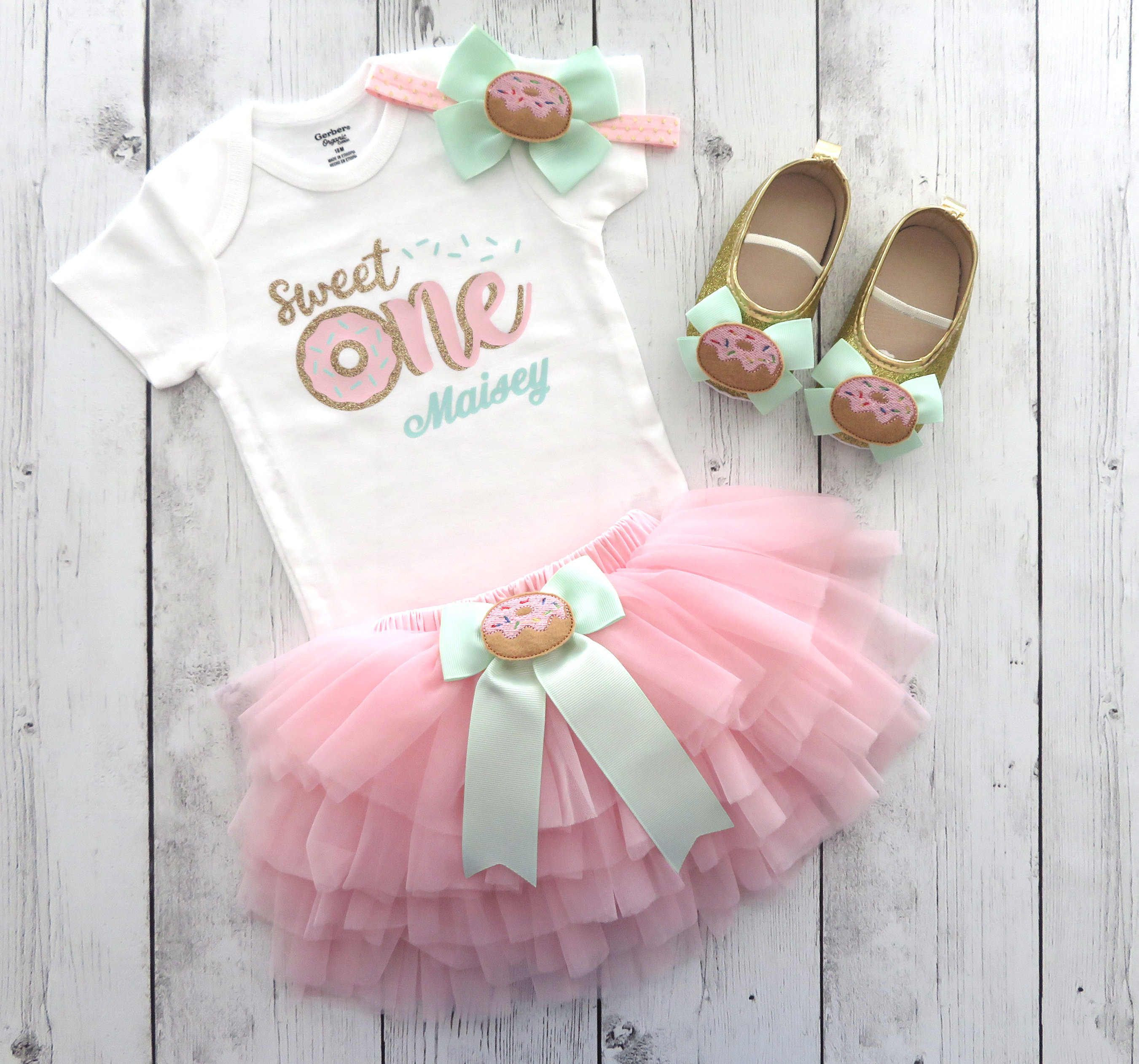 Donut First Birthday Outfit for baby girl with pink tutu bloomers - donut grow up, sweet one, donut first birthday party, donut 1st bday