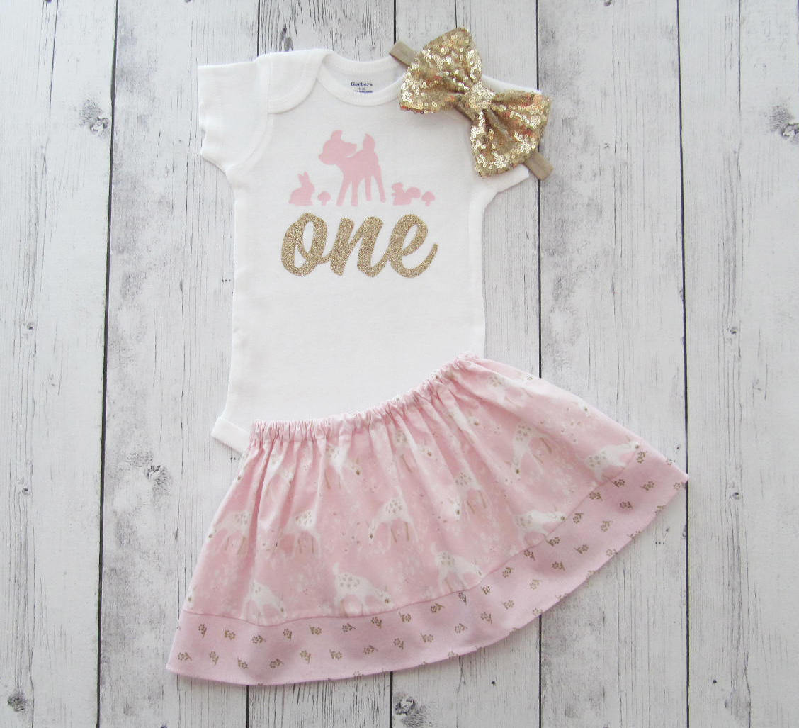 Little Deer First Birthday Outfit in pink and gold - our little dear is turning one, girl first birthday outfit, woodland birthday girl