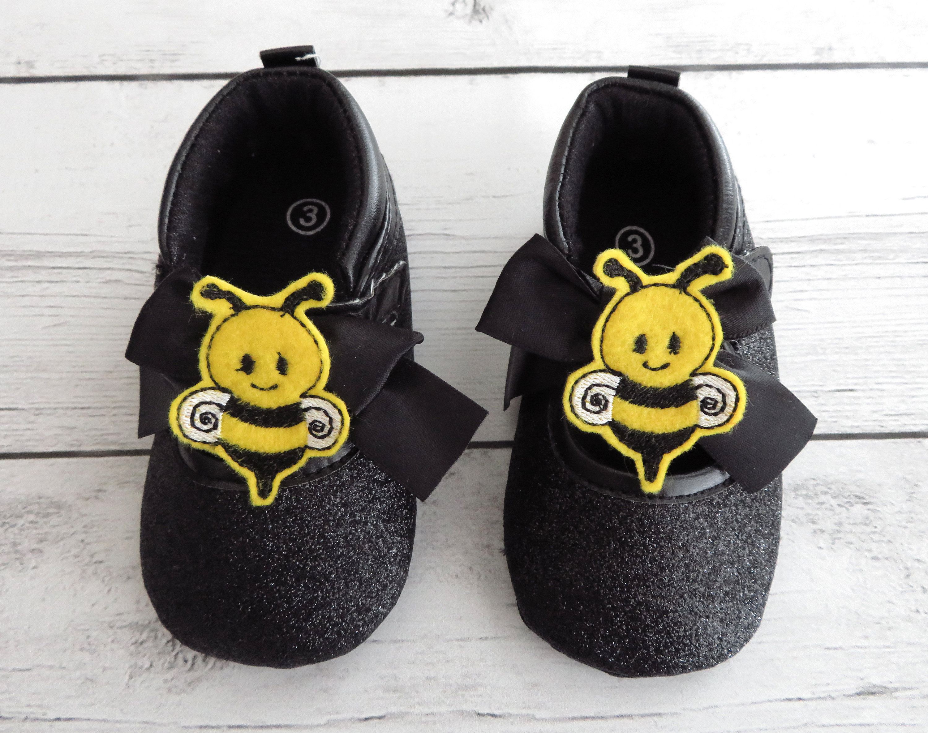 CLEARANCE SALE - Bee First Birthday Shoes - first walkers, first birthday shoes, soft sole shoes, bee 1st bday shoes, bumblebee