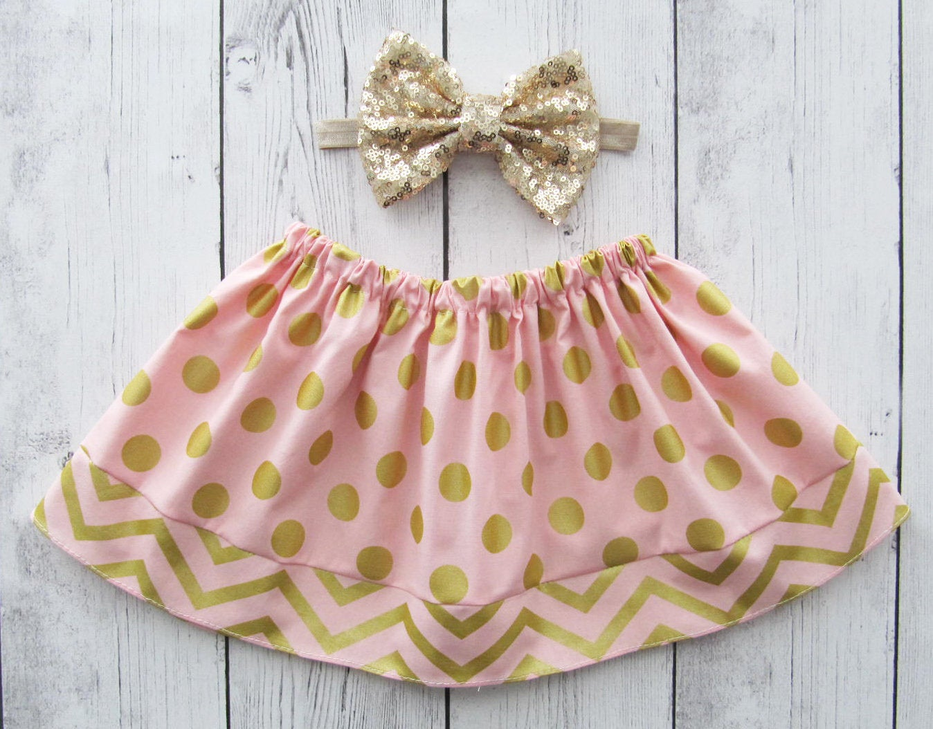 Pink Gold Dot Skirt for baby girl - pink gold skirt, polka dot skirt, baby girl skirt, blush gold skirt, rose gold skirt, gold dot skirt