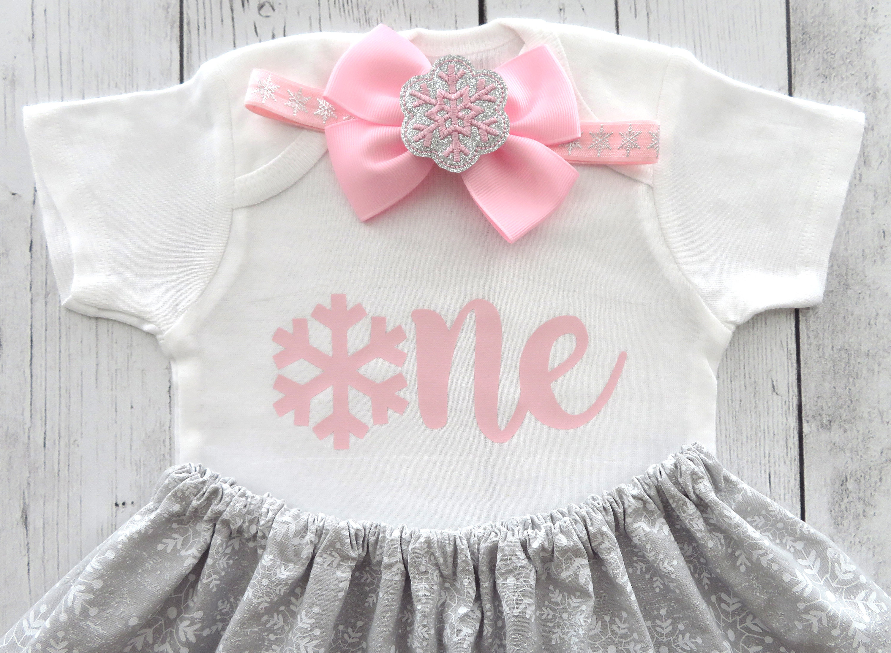 SALE! - Winter ONEderland First Birthday Outfit in pink and gray - girl 1st birthday outfit, winter birthday, snow much fun to be one girl