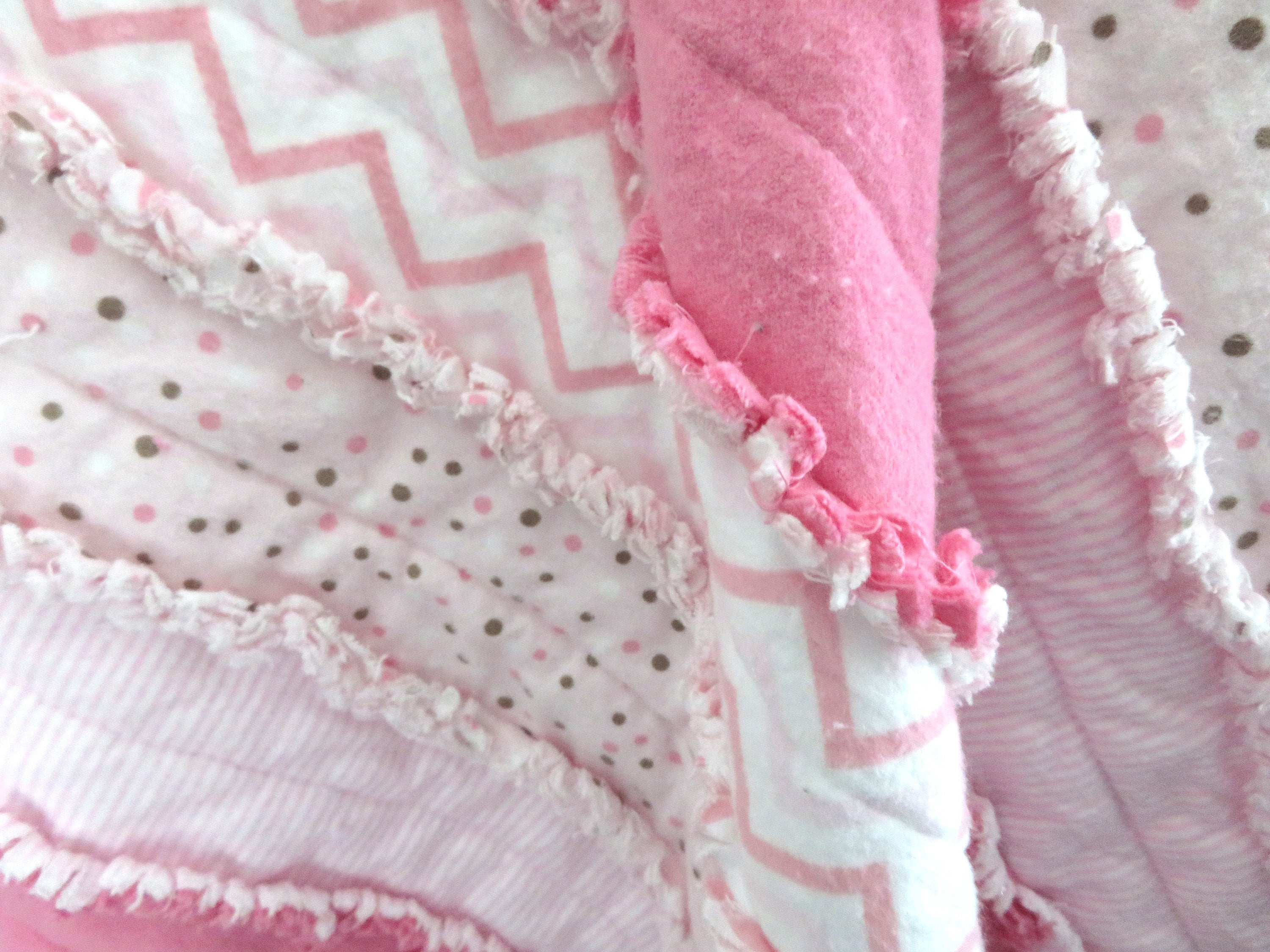 Pink Striped Rag Quilt for Baby Girl - toddler blanket, pink chevron, pink nursery, baby shower gift girl, nursery blanket, stroller quilt
