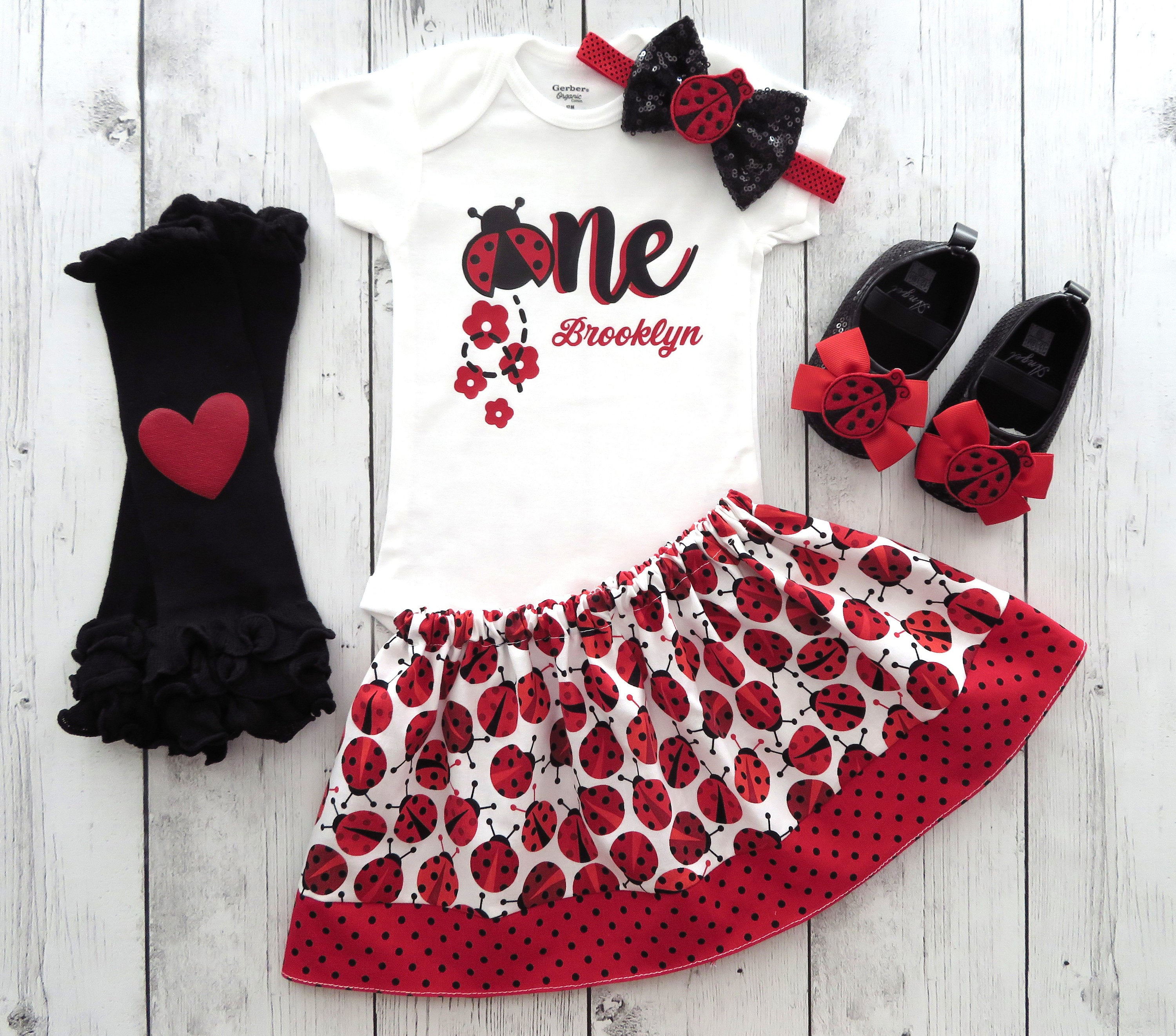 Ladybug First Birthday Outfit - girl first birtday dress, ladybug birthday, personalized shirt, ladybug red black, ladybug headband
