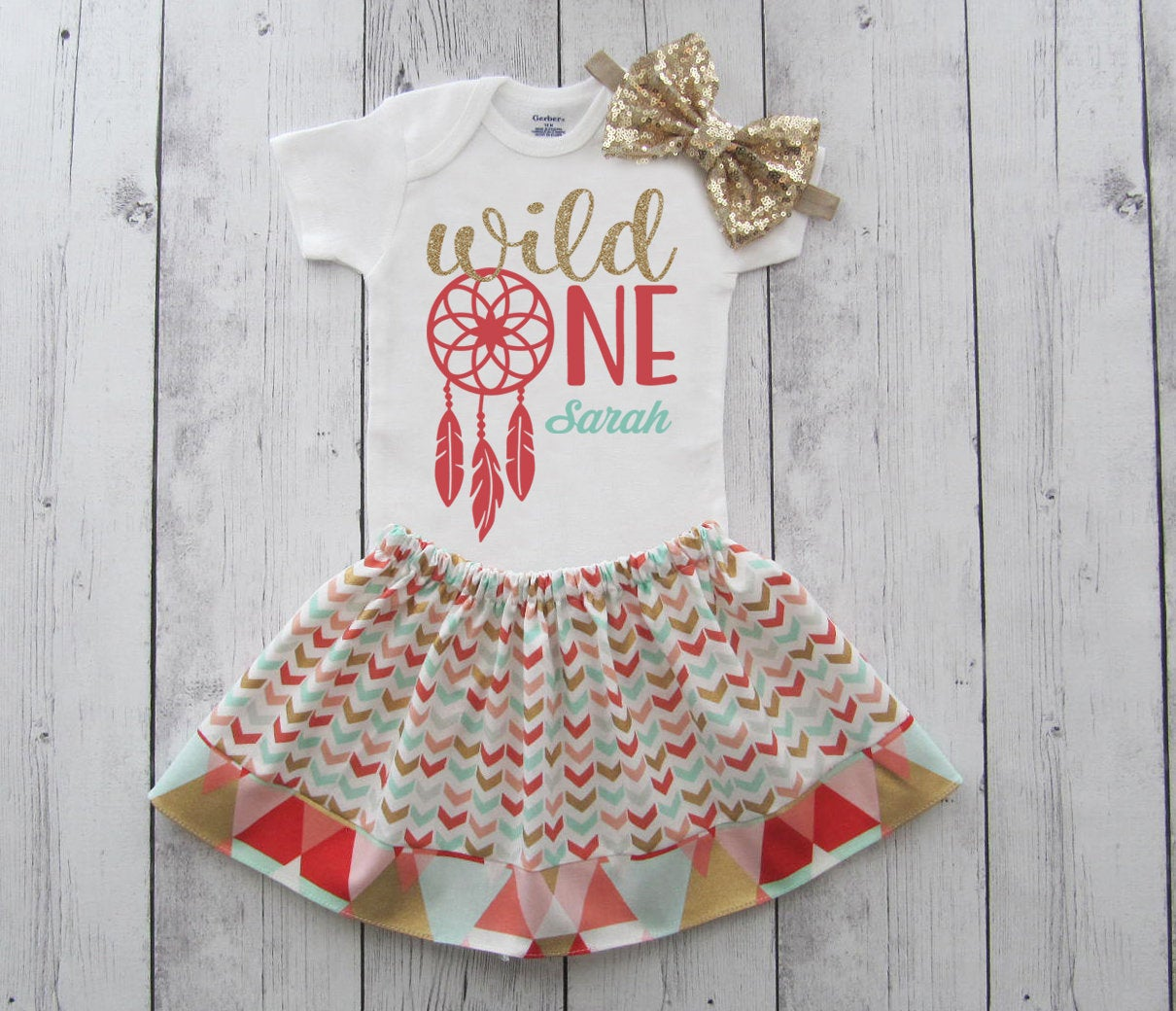 Wild One Dreamcatcher Birthday Outfit in coral, mint and gold glitter - girl first bday outfit, boho chic, wild one girl outfit,personalized
