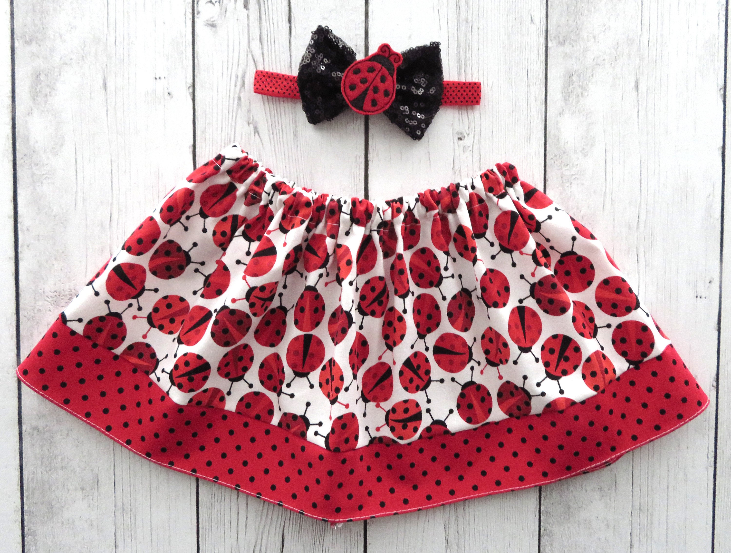 Ladybug Skirt for baby girl in red and black print - ladybug 1st birthday, baby girl skirt, twirl skirt, ladybug birthday, red black skirt