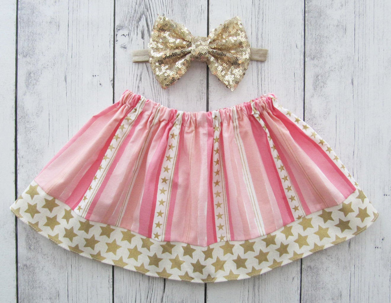Twinkle Twinkle Little Star Skirt for baby girl - pink gold skirt, twinkle twinkle skirt, baby girl skirt, pink gold star skirt