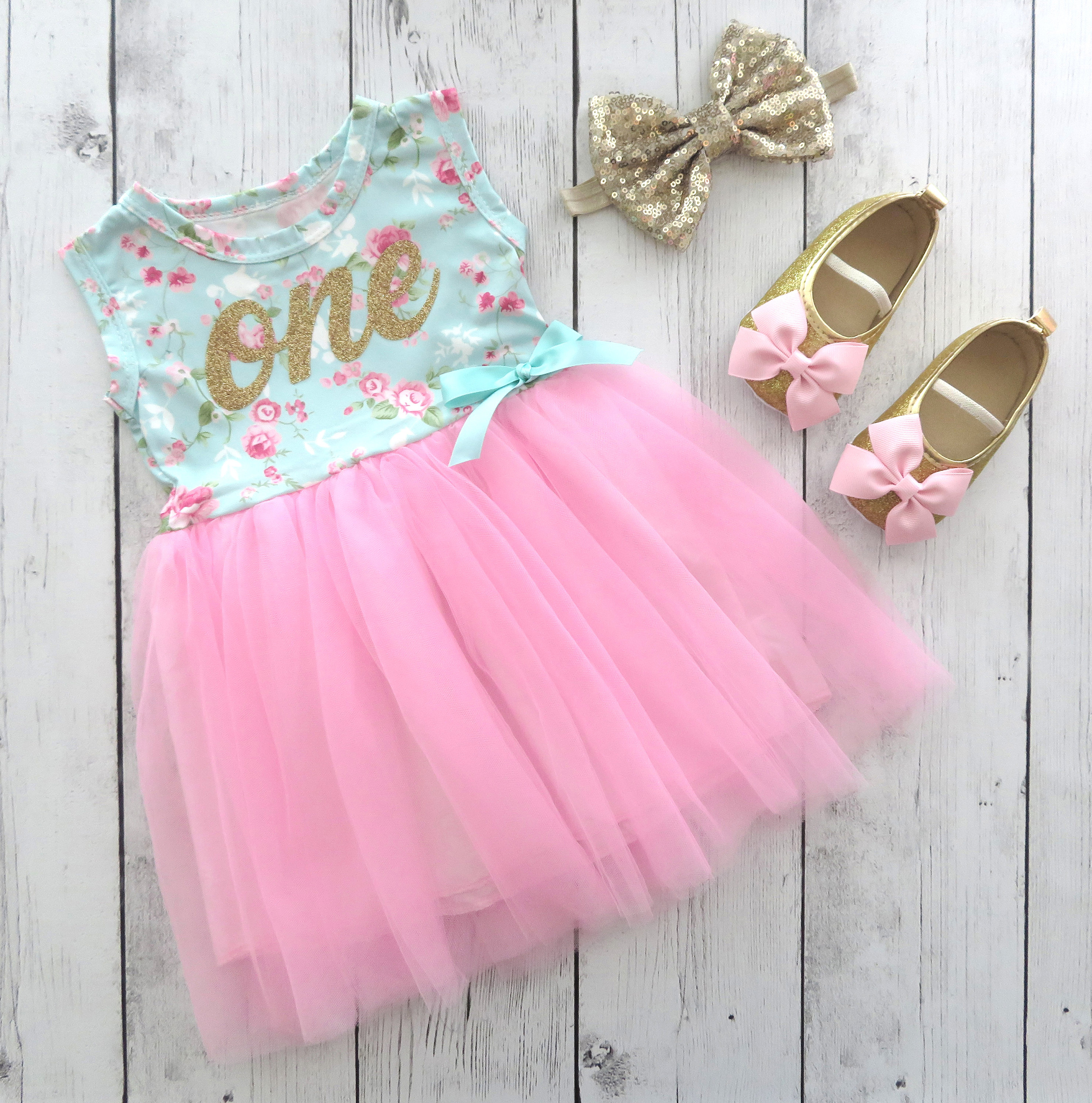 First Birthday Tutu Dress with Mint Floral top - pink tulle skirt, 1st bday tutu dress, pink gold shoes, birthday tutu, one year old