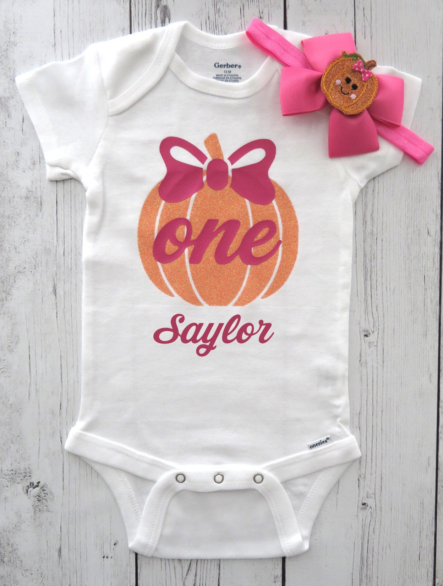Pumpkin First Birthday Onesie for Baby Girl - hot pink orange, fall birthday, pumpkin one, pumpkin headband, girl first birthday shirt