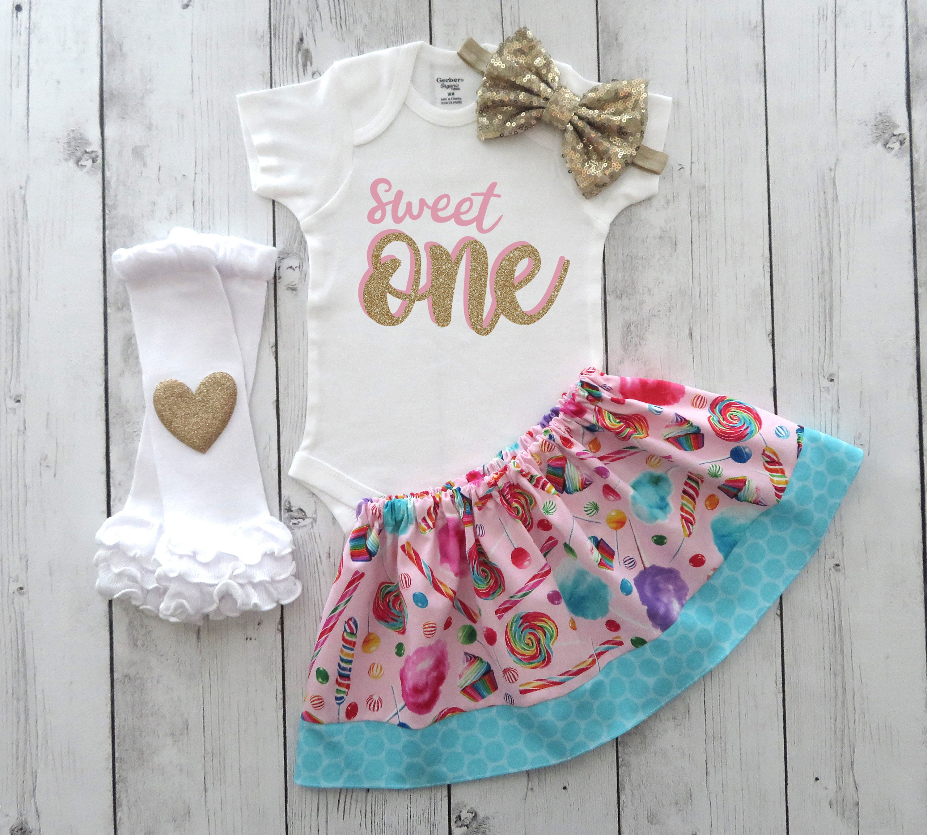 Sweet One First Birthday Outfit in pink and gold - ice cream, lollipops, cotton candy, ice cream birthday girl, sweet one 1st bday outfit