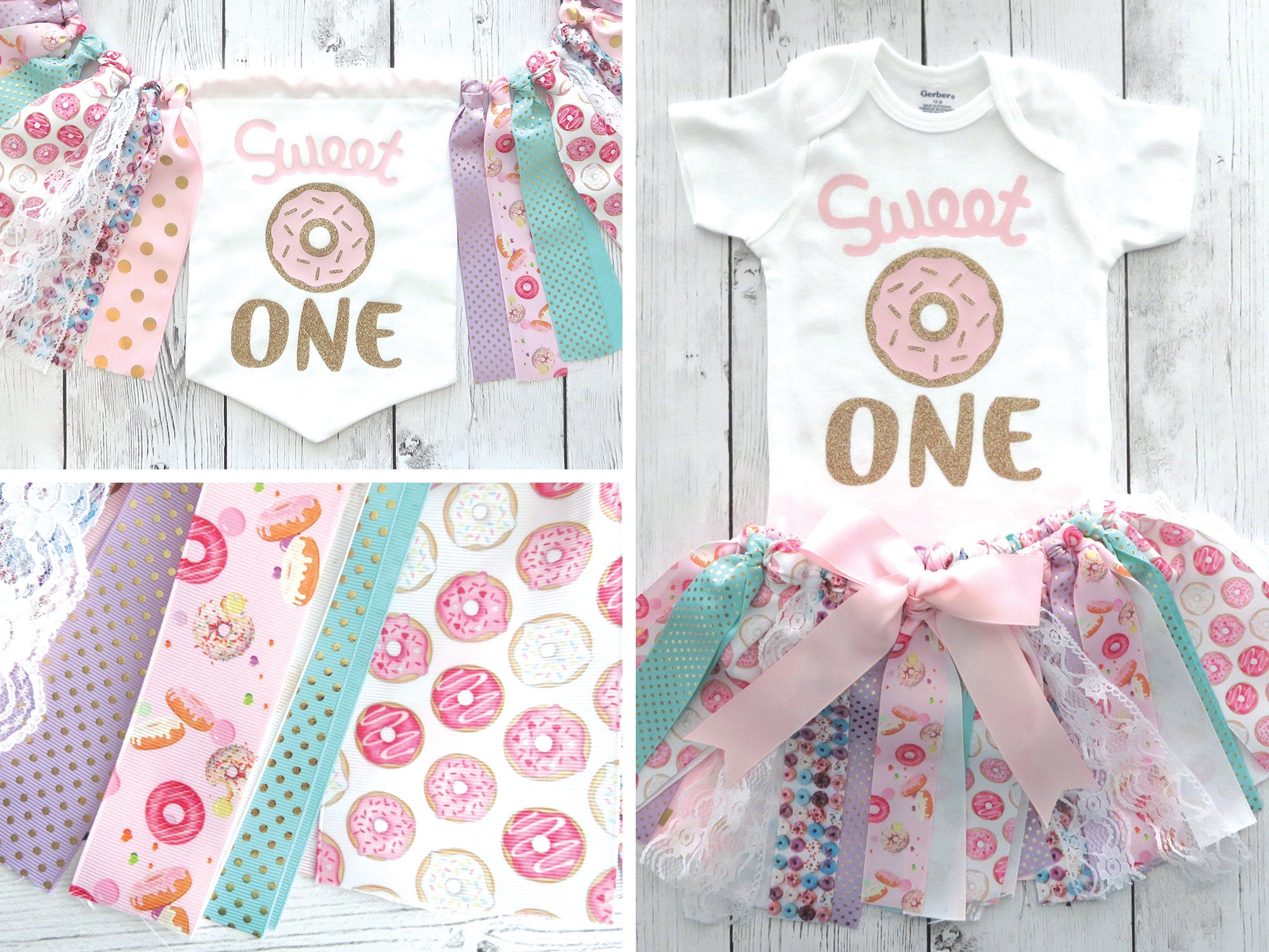 Donut First Birthday Outfit with Tutu and matching High Chair Banner - donut 1st bday girl, donut banner, sweet one birthday, donut grow up