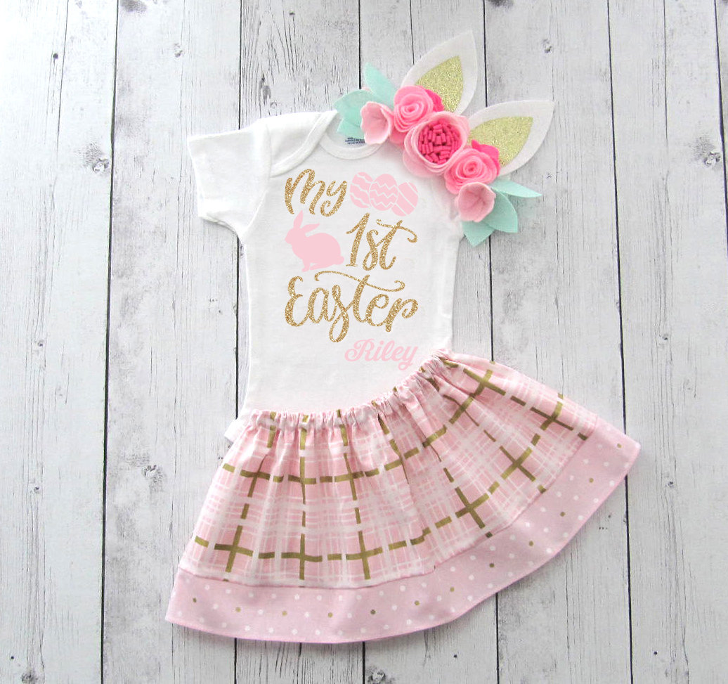 My First Easter Outfit - pink gold dress, baby girl first easter, easter outfit girl, my first easter pink gold, my first easter dress girl
