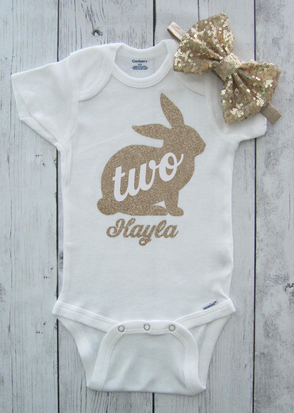 Bunny Second Birthday Onesie -  baby girl bodysuit, some bunny is two, baby girl bunny birthday, bunny two gold, personalized, gold bow