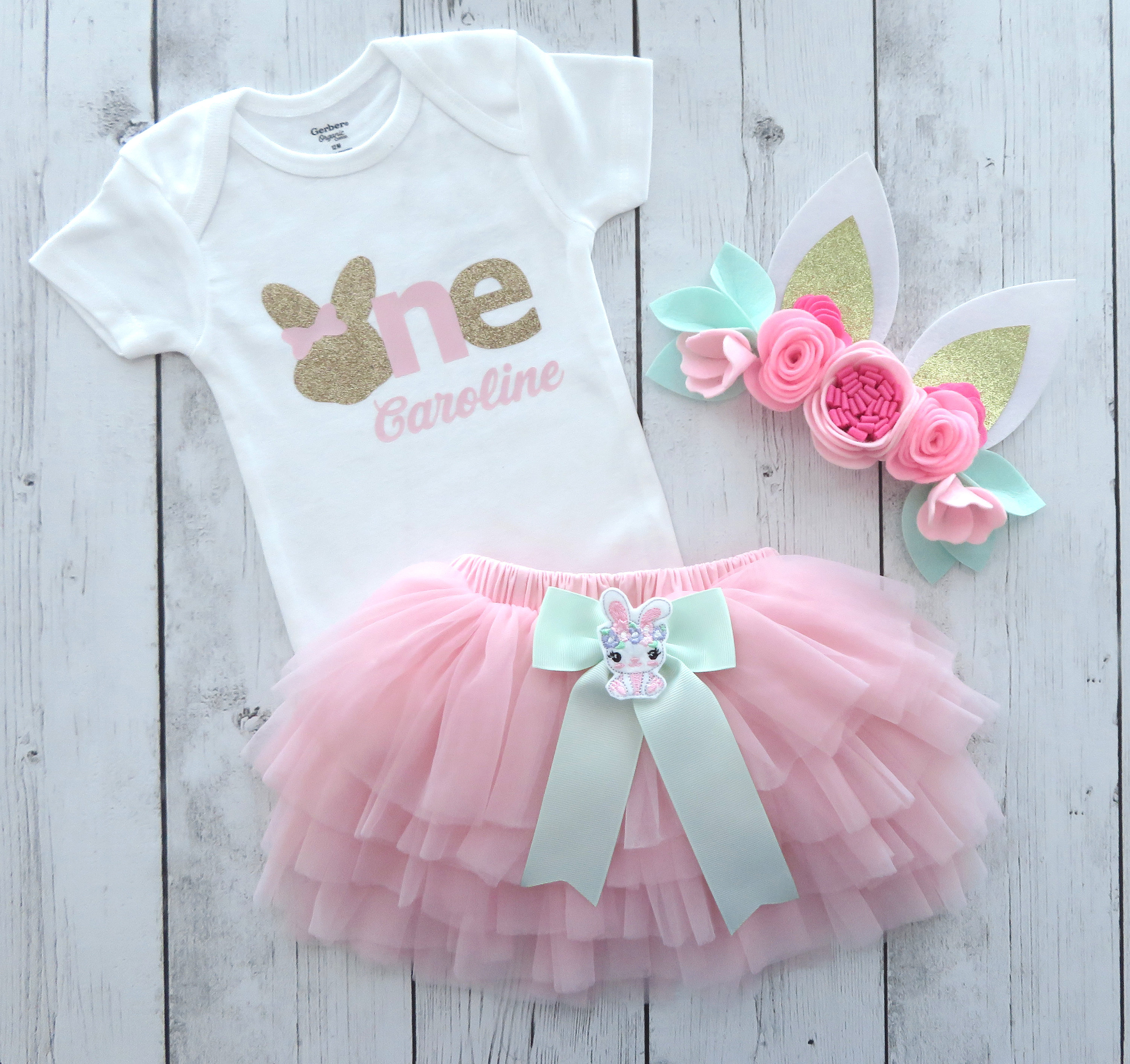 Bunny First Birthday Outfit in pink, mint and gold - bunny ears headband, bunny shoes, 1st birthday tutu bloomers, personalized 1st birthday