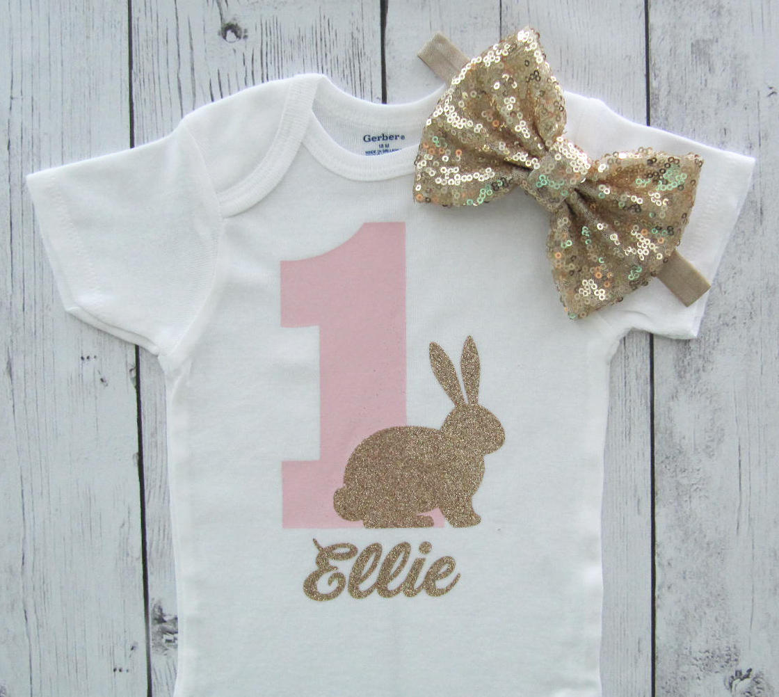 Bunny First Birthday Onesie - pink gold, baby girl, some bunny is one, bunny 1st birthday girl, bunny 1 shirt, bunny first birthday shirt