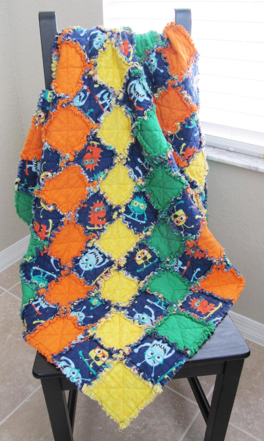 Navy Monster Blanket for Baby/Toddler - baby shower gift, cuddle blanket, aliens, green orange yellow