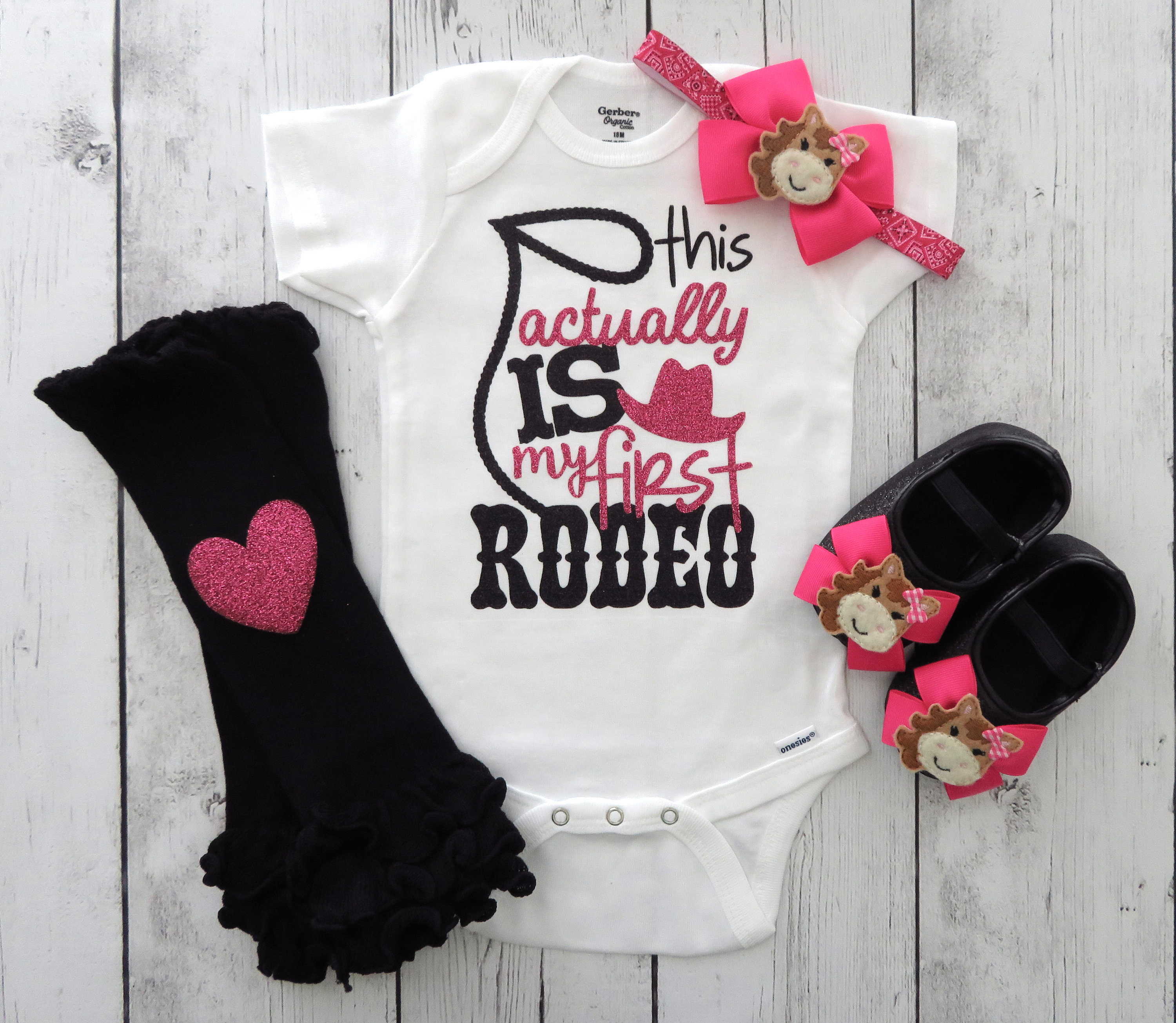 Cowgirl First Birthday Onesie for Girl - cowgirl pink, this actually is my first rodeo, rodeo birthday girl, cowgirl pink girl, horse shoes