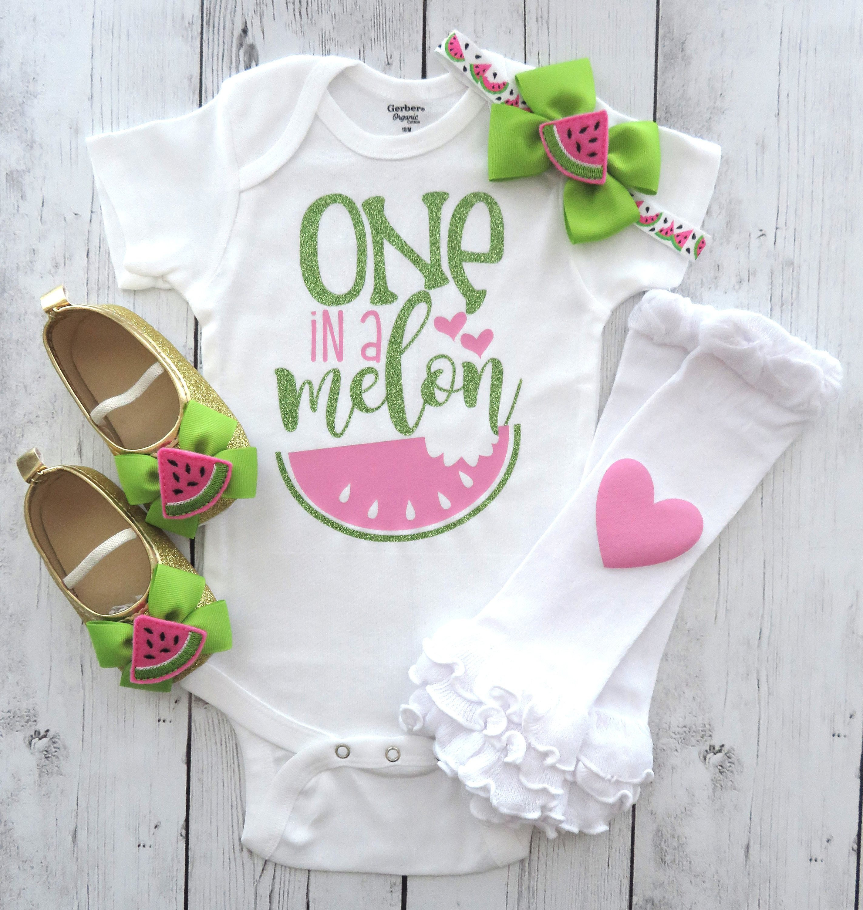 One in a Melon First Birthday Onesie - girl first birthday, watermelon birthday, watermelon pink lime, watermelon bow, one year old