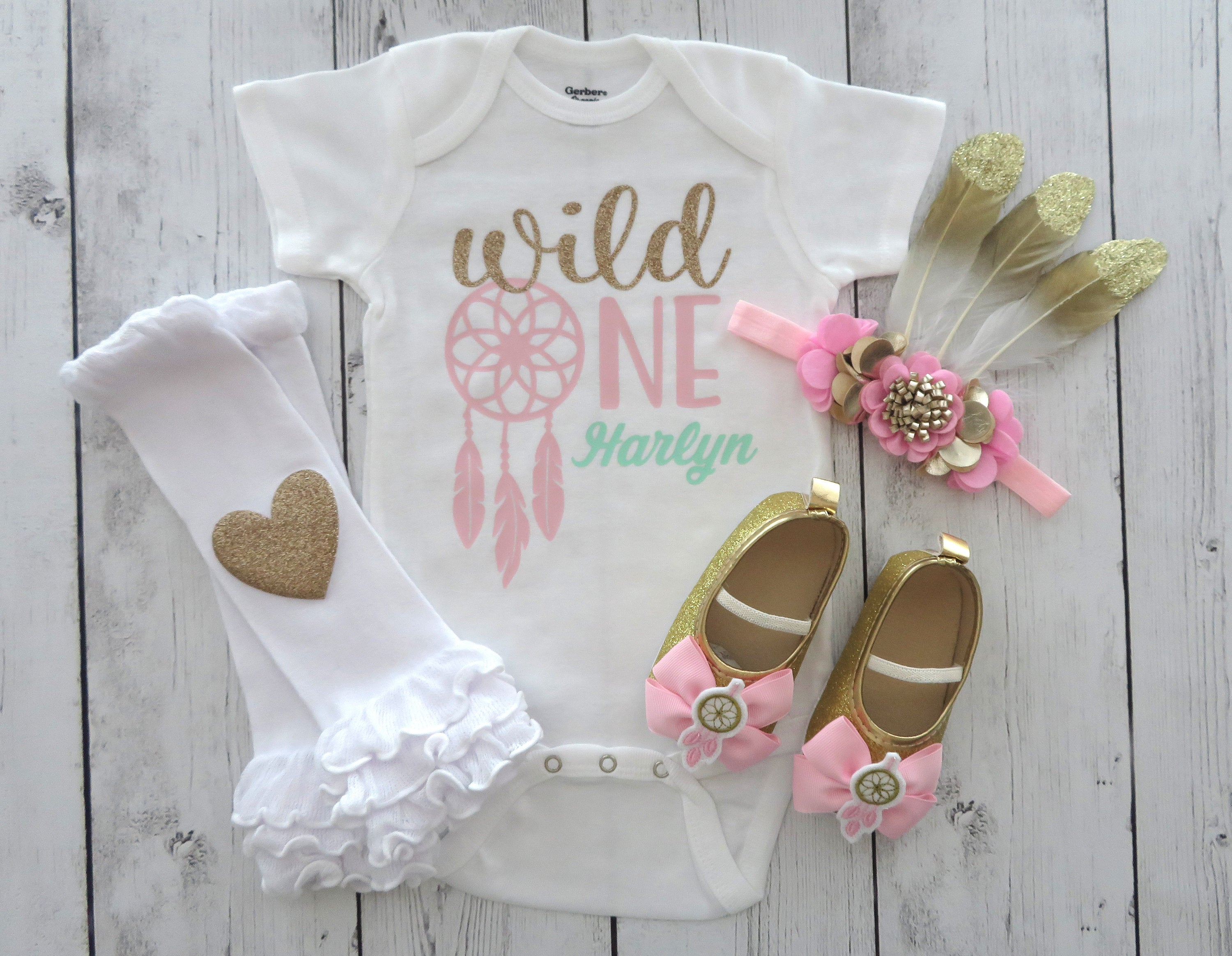 Dreamcatcher Wild One Birthday Onesie in pink and gold - wild one shoes, boho birthday, tribal birthday girl, personalized, wild one shirt