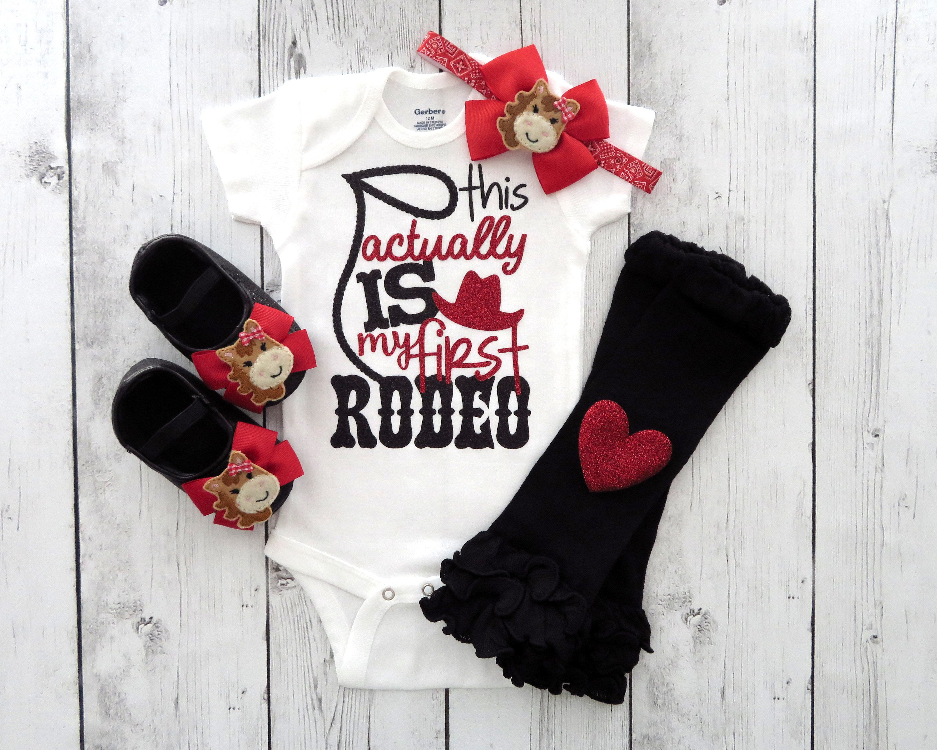 Cowgirl First Birthday Onesie for Girl - cowgirl red, this actually is my first rodeo, rodeo birthday girl, cowgirl shoes