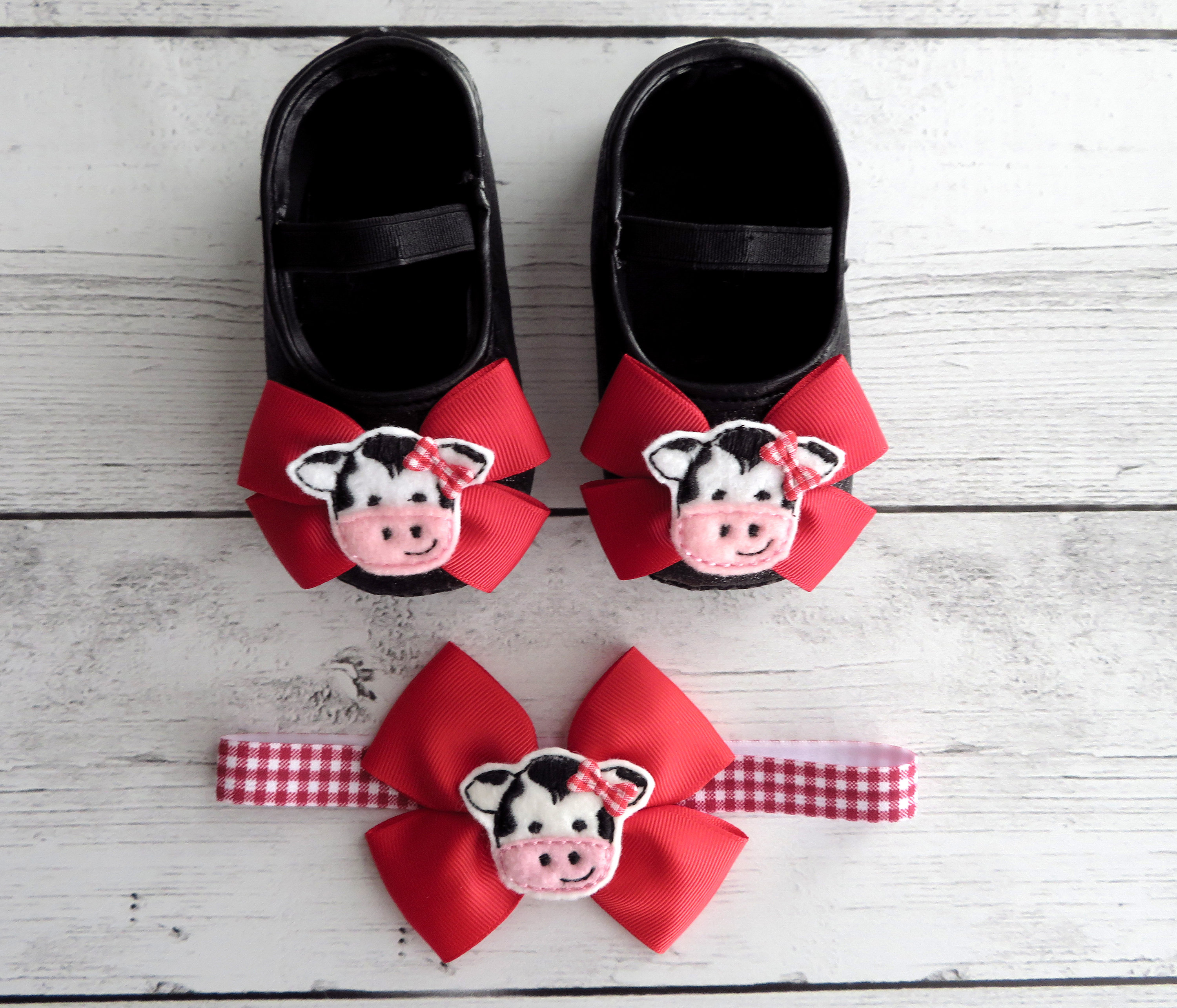 Cow First Birthday Shoes & Headband for Girl -  black glitter shoes, 1st bday shoes red black, farm animal birthday, barnyard birthday