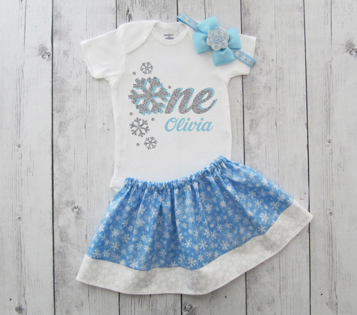 Winter ONEderland Snowflake First Birthday Outfit - girl birthday, twirl skirt, winter, frozen, blue snowflakes, blue silver