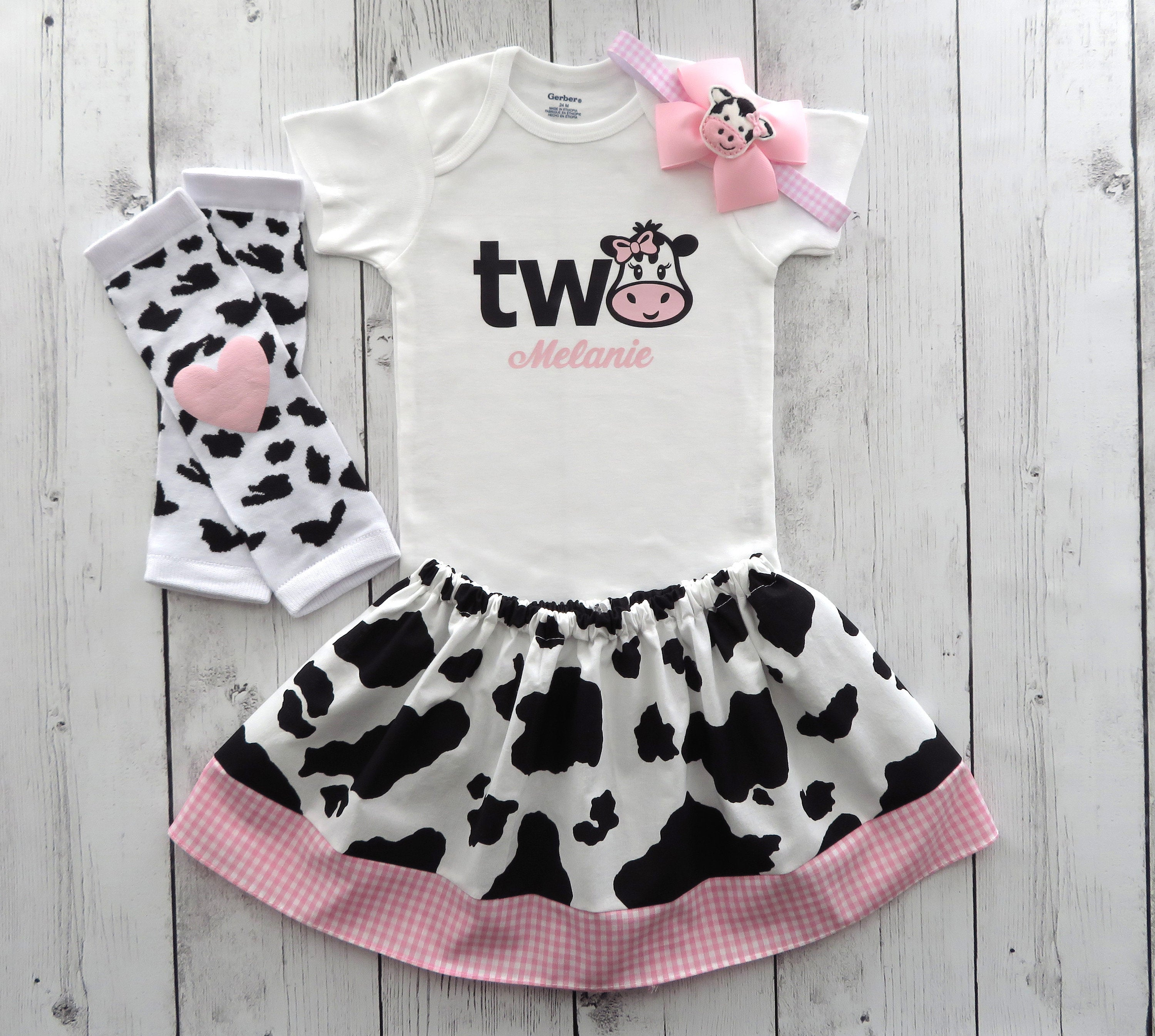 Cow Two Birthday Outfit in Cow print and Pink Gingham - onesie and skirt, girl birthday outfit, cowgirl, farm animal, personalized, barnyard