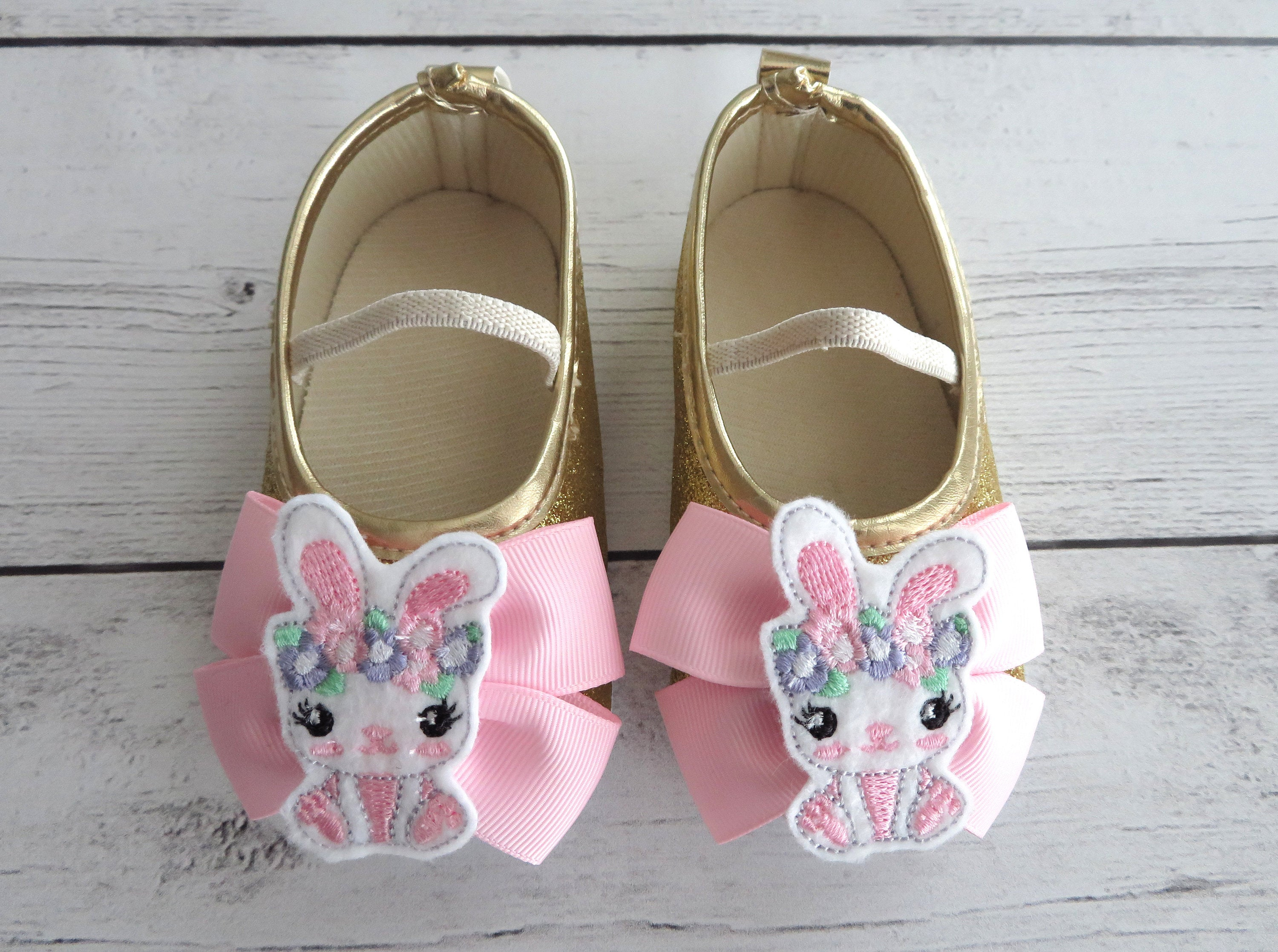 Bunny First Birthday Shoes in light pink and gold - some bunny is one, bunny 1st birthday girl, easter birthday, bunny rabbit shoes