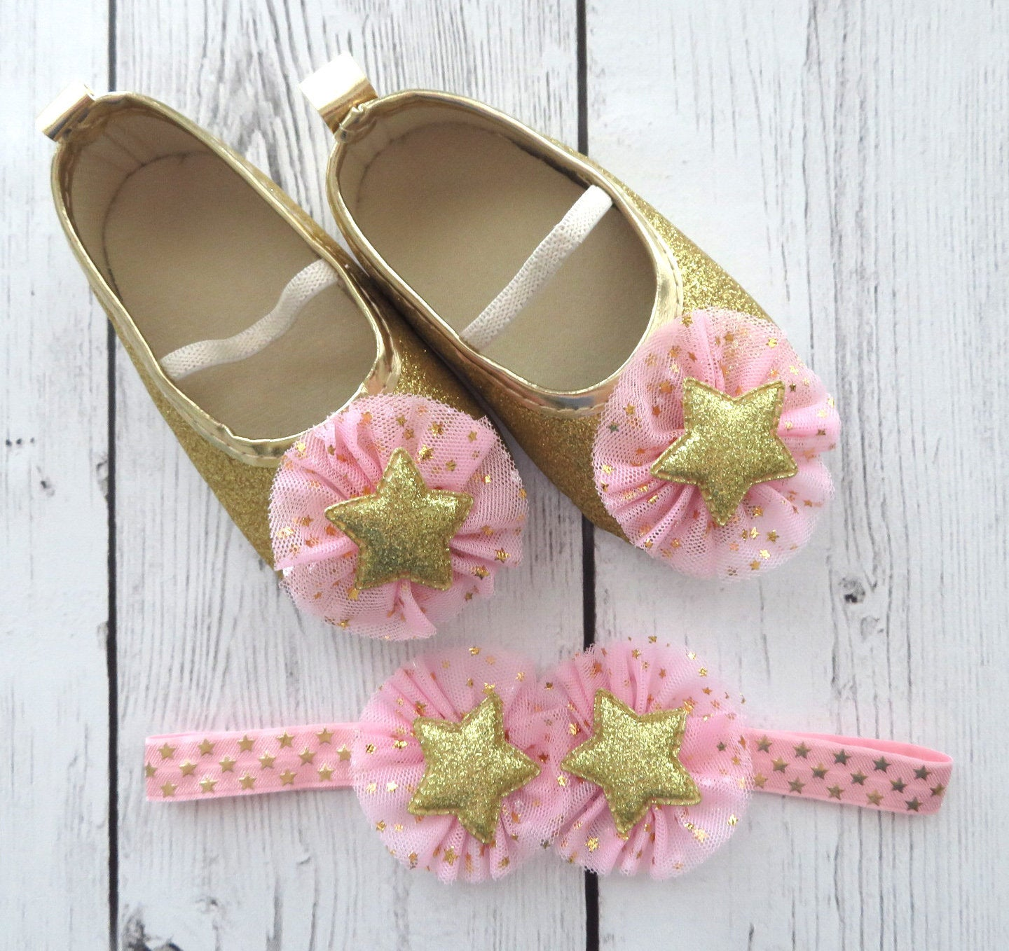 Twinkle Twinkle Little Star First Birthday Shoes & Headband in light pink and gold- 1st bday, star shoes, twinkle shoes, star one birthday