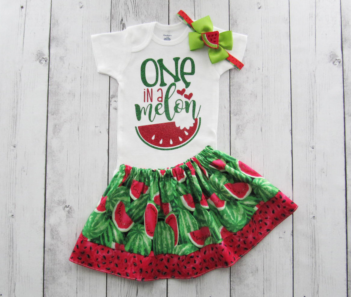 LAST ONE! - Watermelon First Birthday Outfit - one in a melon, girl birthday outfit, watermelon crawl, watermlon first birthday outfit