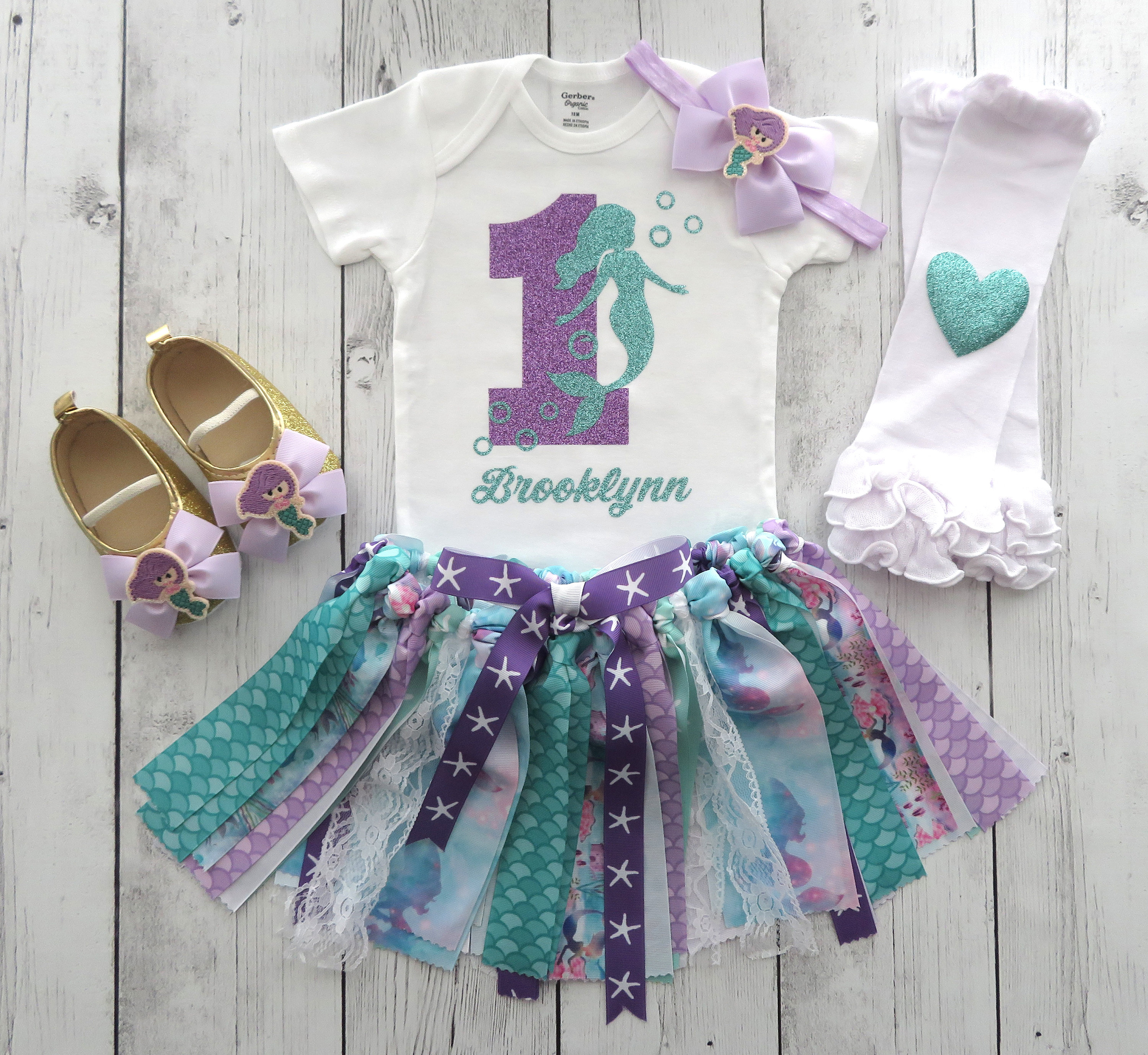 Mermaid First Birthday Outfit with Tutu, Headband and Shoes - mermaid 1st bday outfit girl, mermaid tutu dress, mermaid bday girl