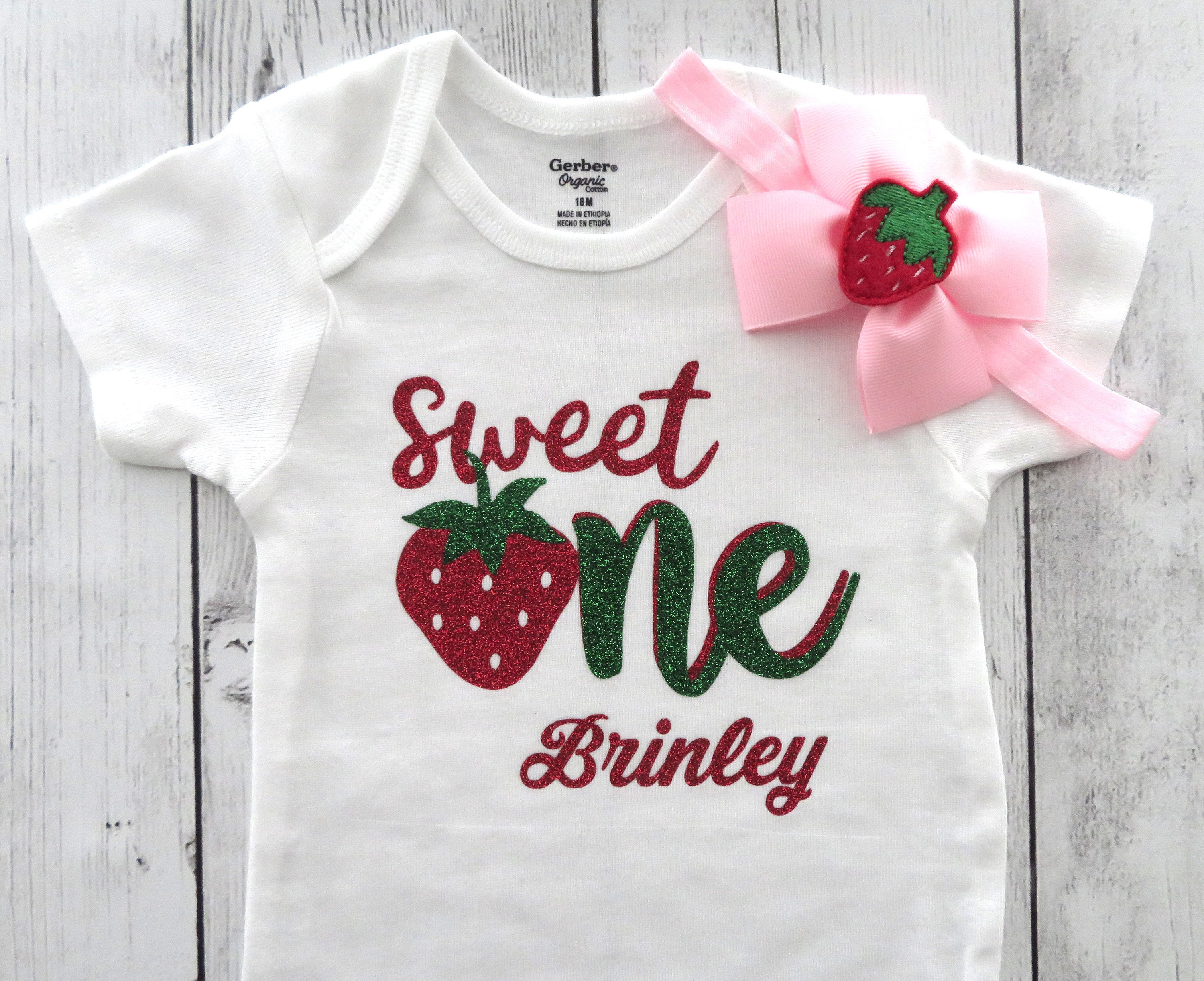 Sweet One Strawberry First Birthday Onesie with pink and red shoes - summer birthday, strawberry 1st birthday, strawberry birthday girl