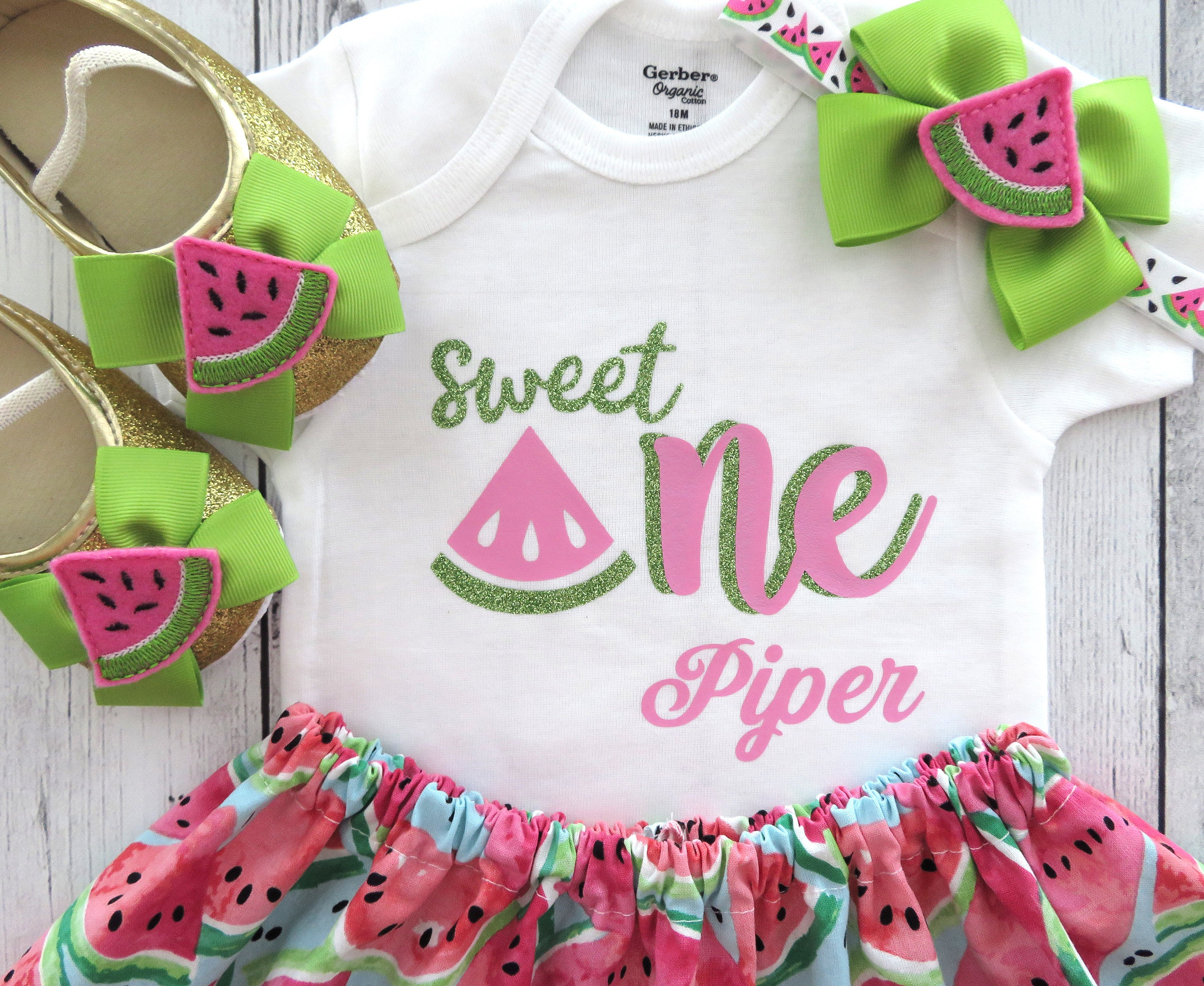 Watermelon First Birthday Outfit - one in a melon, personalized, girl 1st bday outfit, cake smash, pink watermelon, summer birthday girl