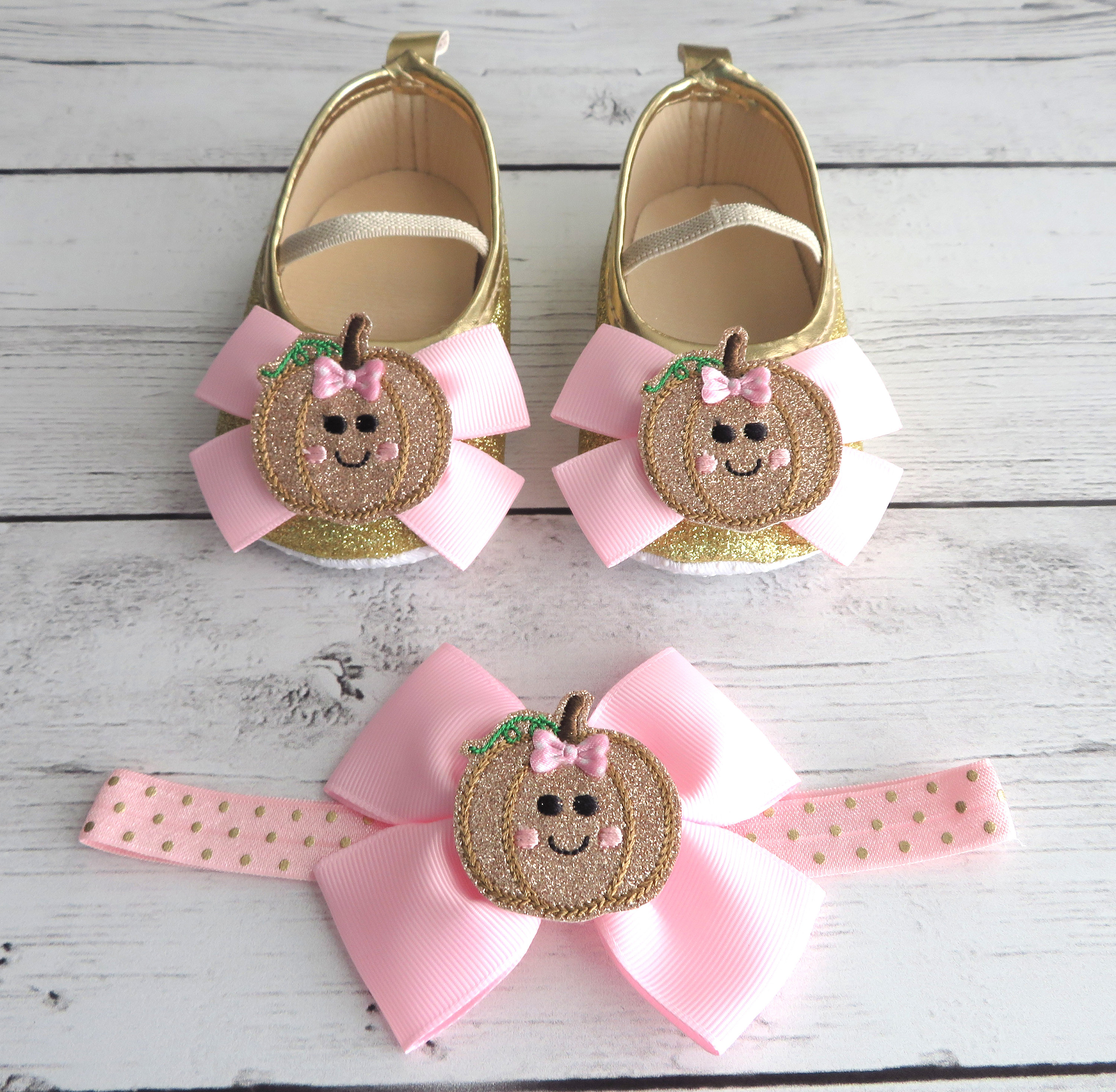 Pumpkin First Birthday Shoes & Headband set in light pink and gold- pumpkin shoes, our little pumpkin is one, pumpkin girl, pink gold bday