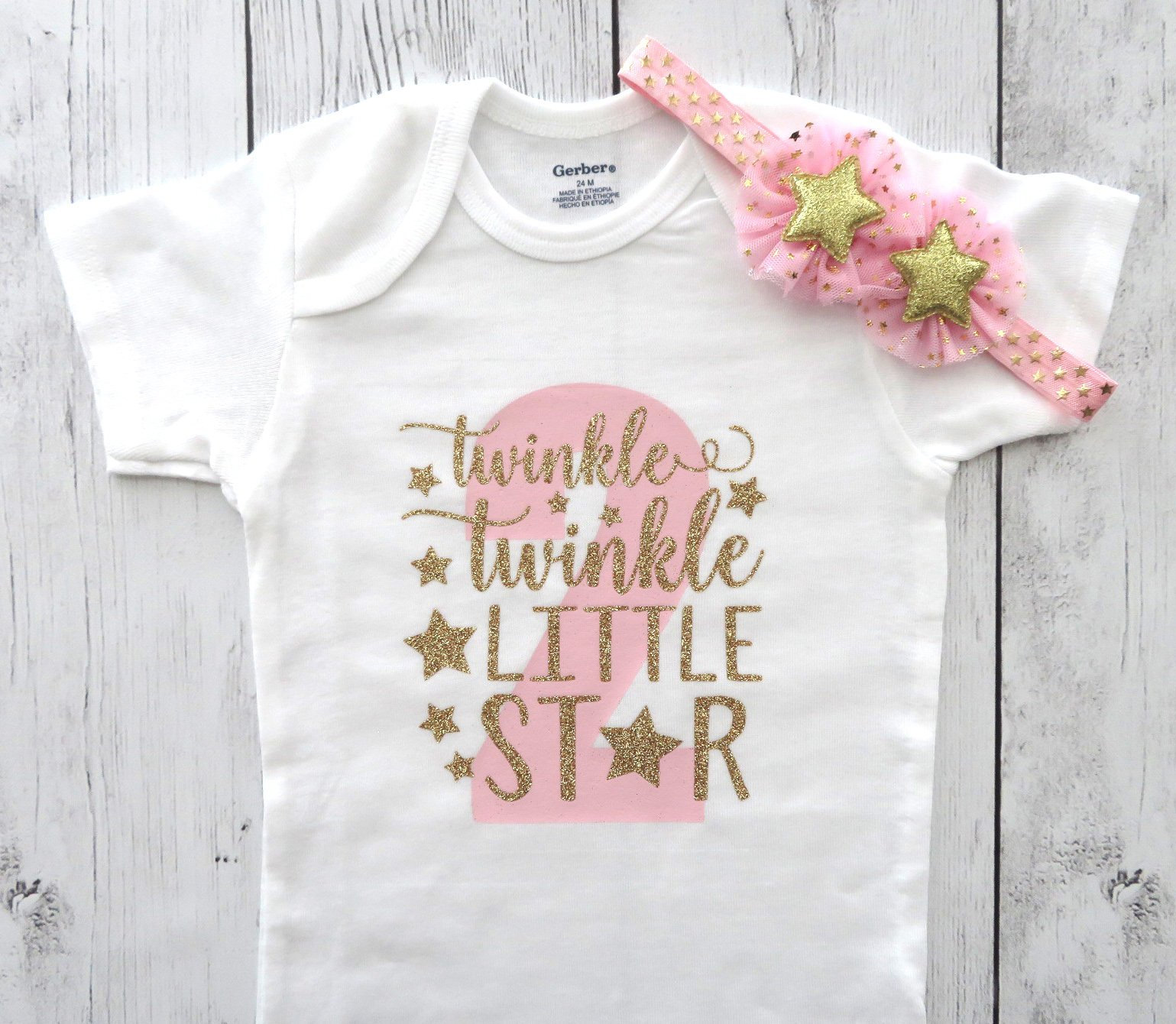 Twinkle Twinkle Little Star Second Birthday Onesie in pink and gold- girl 2nd birthday, two year old birthday, pink and gold outfit