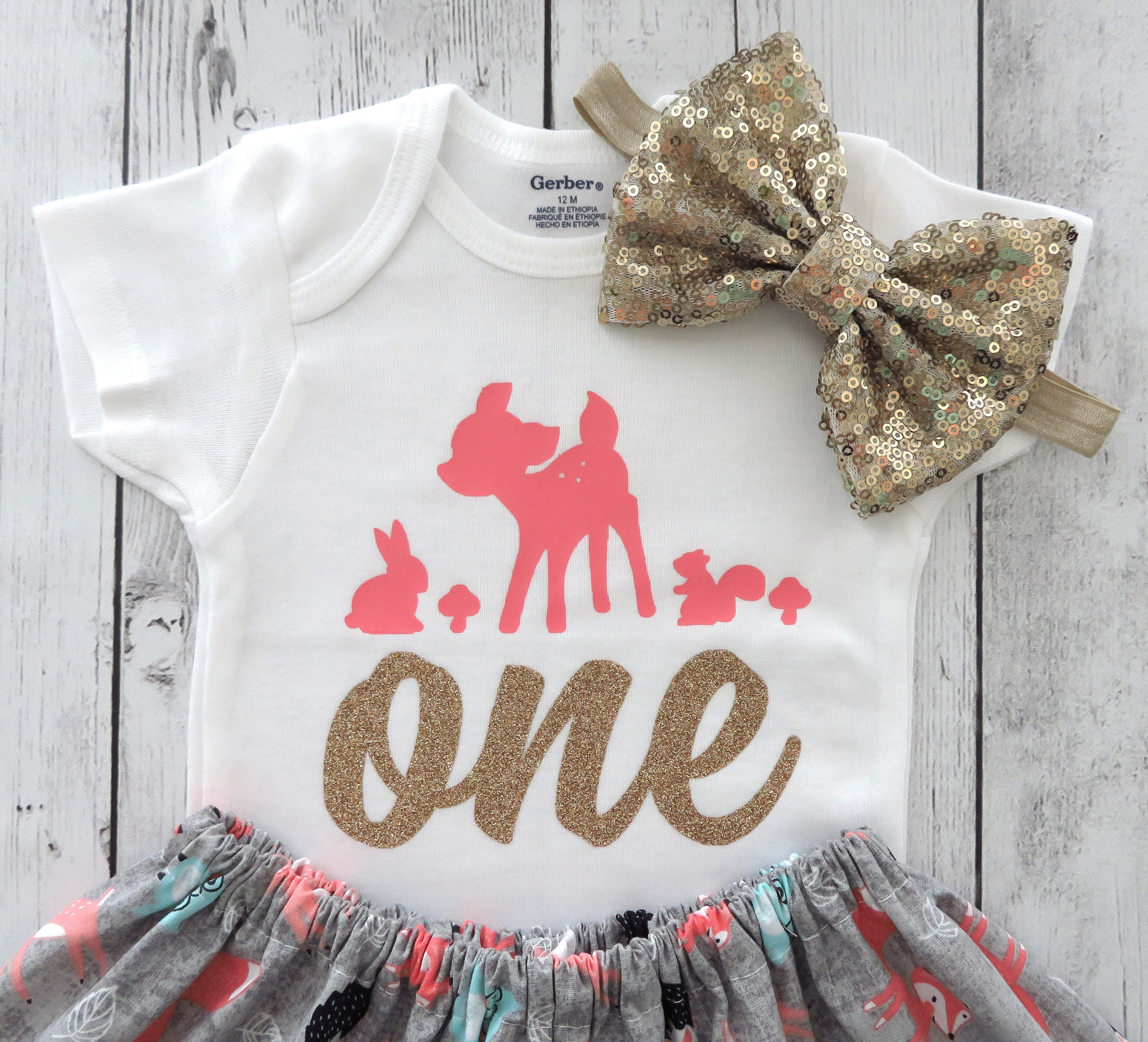 Deer First Birthday Outfit in coral and grey print - woodland 1st bday outfit, cute deer, 1st birthday outfit girl, oh deer birthday girl