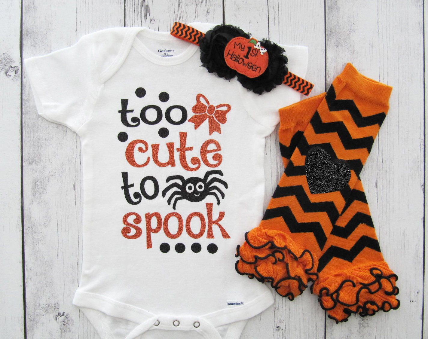 Baby Girl Halloween Outfit - Too Cute to Spook Onesie - first halloween costume, halloween baby outfit, orange black, baby's first halloween