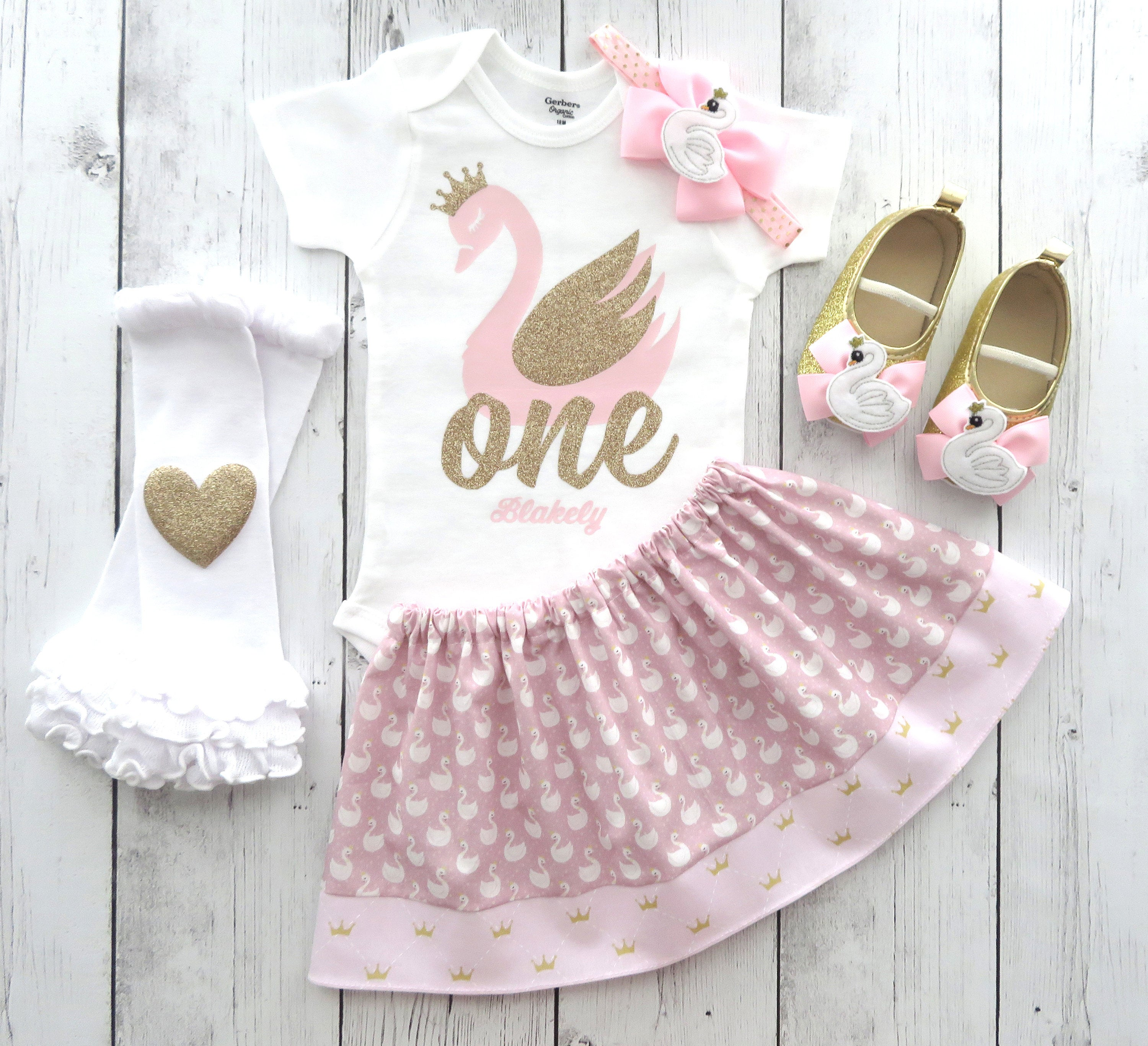 Swan First Birthday Outfit for girl in pink and gold - swan lake, personalized, swan 1st birthday outfit girl, pink gold swan bday outfit