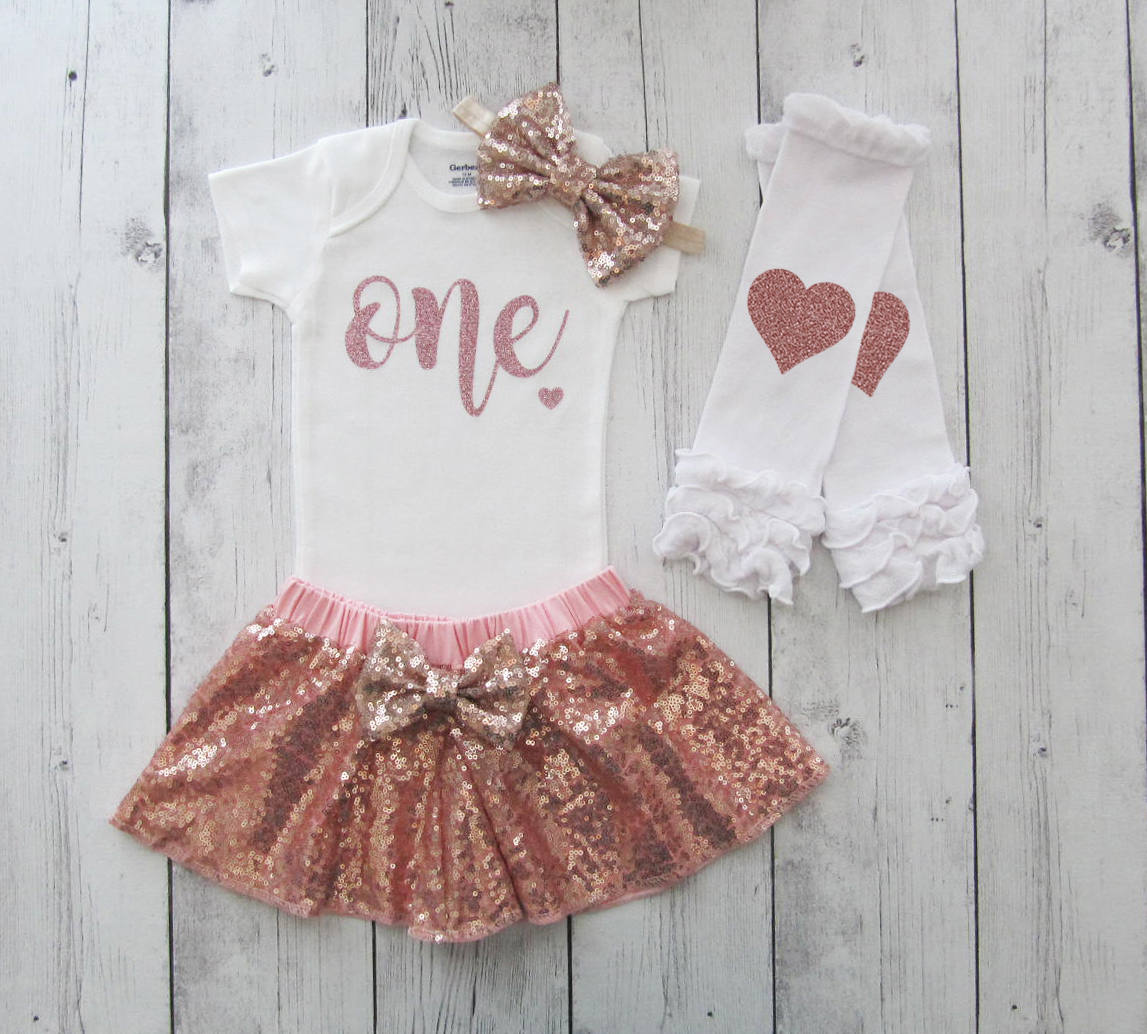 Rose Gold First Birthday Outfit for baby girl - rose gold sequin skirt, rose gold onesie, dusty rose birthday girl, rose gold outfit girl