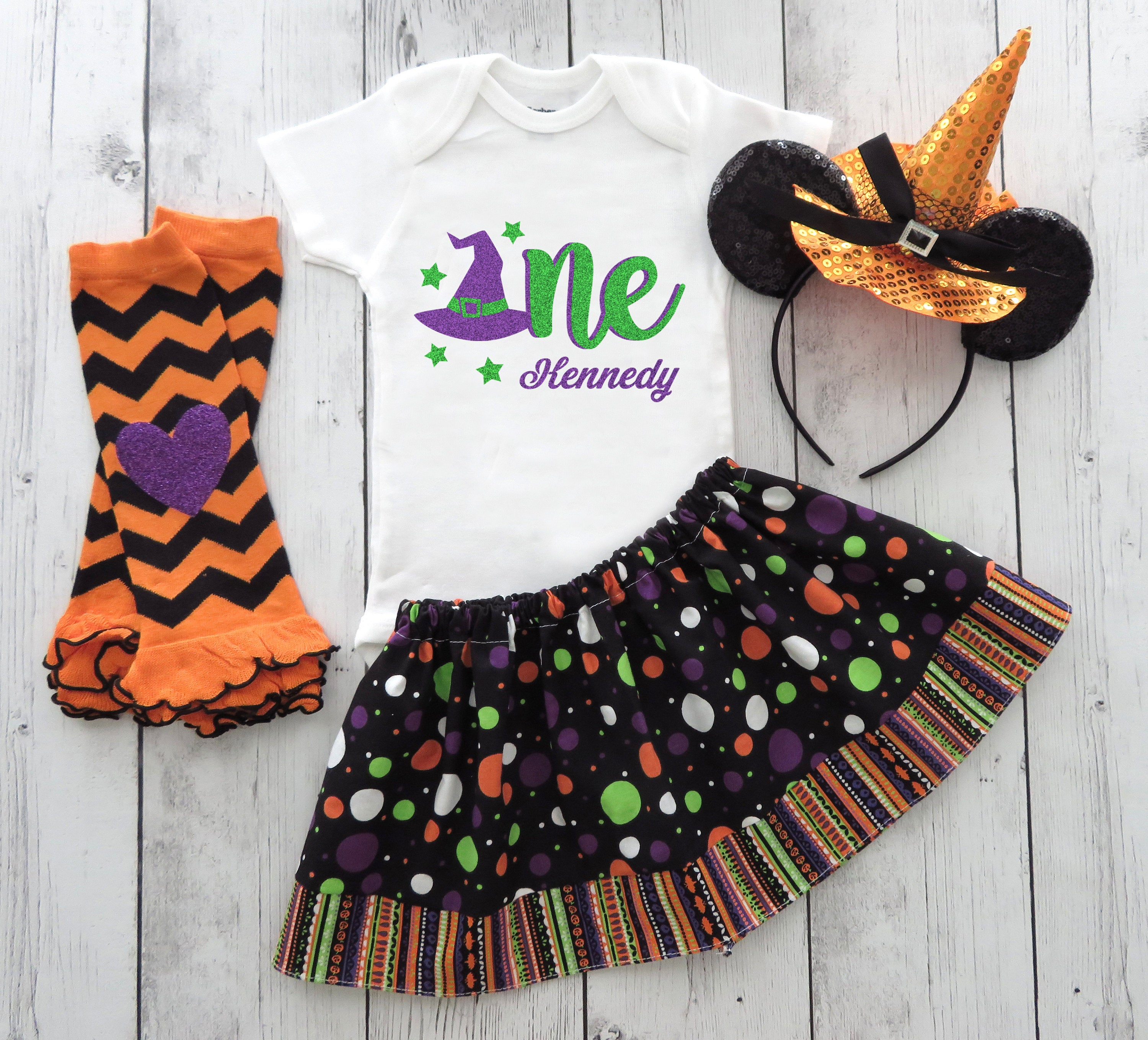 Halloween / Minnie Witch First Birthday Outfit with minnie witch headband - halloween birthday outfit, personalized, 1st bday outfit girl