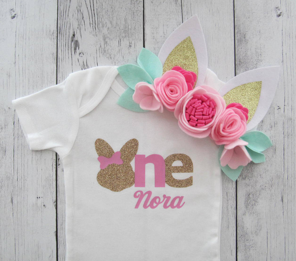 Bunny One First Birthday Onesie in bubblegum pink and gold- baby girl, some bunny is turning one, bunny rabbit, pink gold birthday