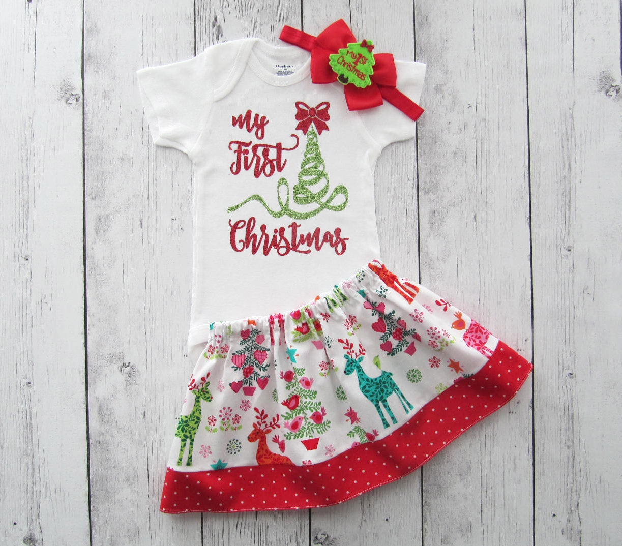 My First Christmas Oufit - baby girl holiday outfit, my first christmas, girl christmas dress, reindeer, first christmas outfit baby girl