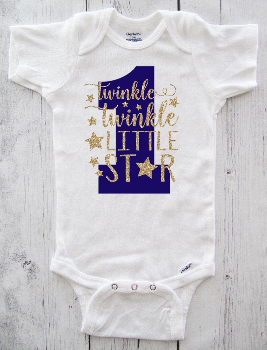 Twinkle Twinkle Little Star First Birthday Onesie in navy blue and gold- boy birthday, blue gold, star one birthday, twinkle star boy shirt