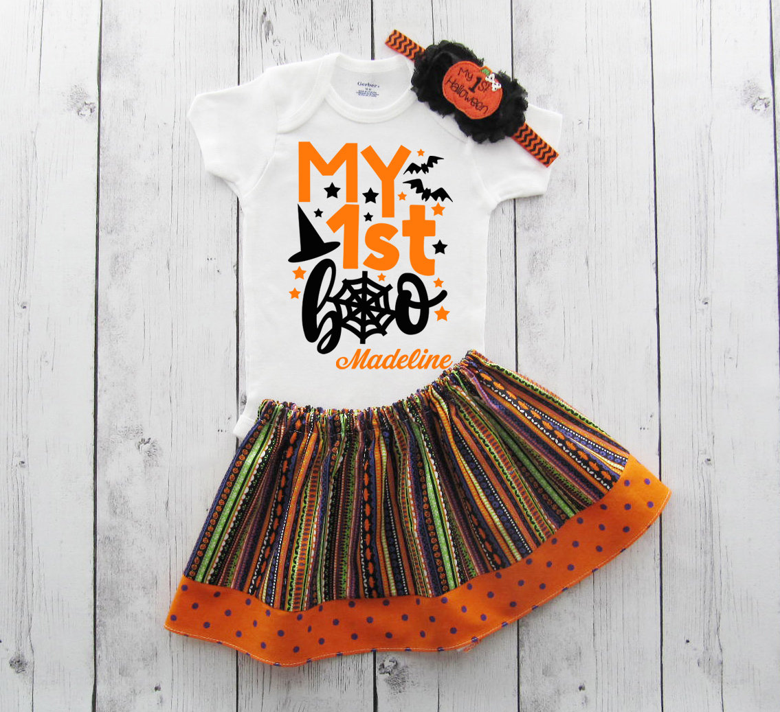 My First Halloween Outfit - my first boo, baby girl halloween costume, baby girl halloween, baby costume, first hallwoeen, orange black