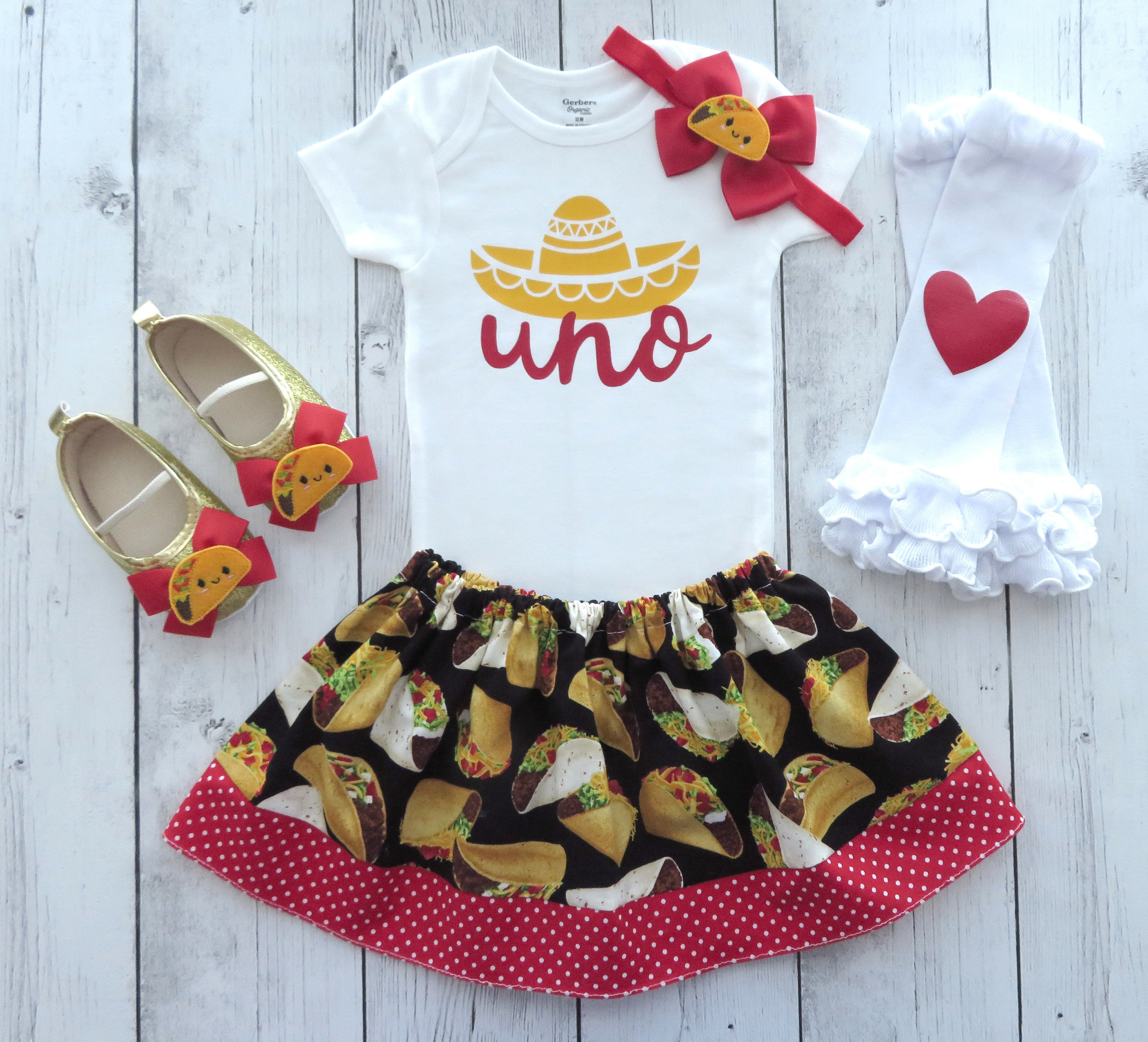 Taco First Birthday Outfit for girl - one year old, taco bout who's one, fiesta birthday party, uno, taco birthday, 1st birthday outfit girl