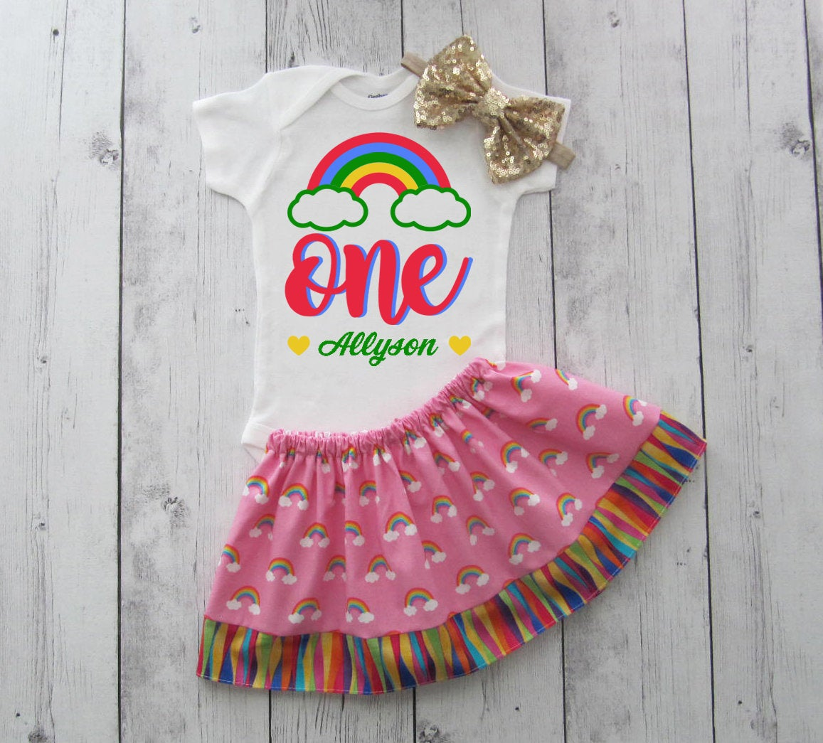 Rainbow First Birthday Outfit for girl - pink rainbow birthday outfit, rainbow 1st birthday outfit, rainbow birthday girl, pink rainbow